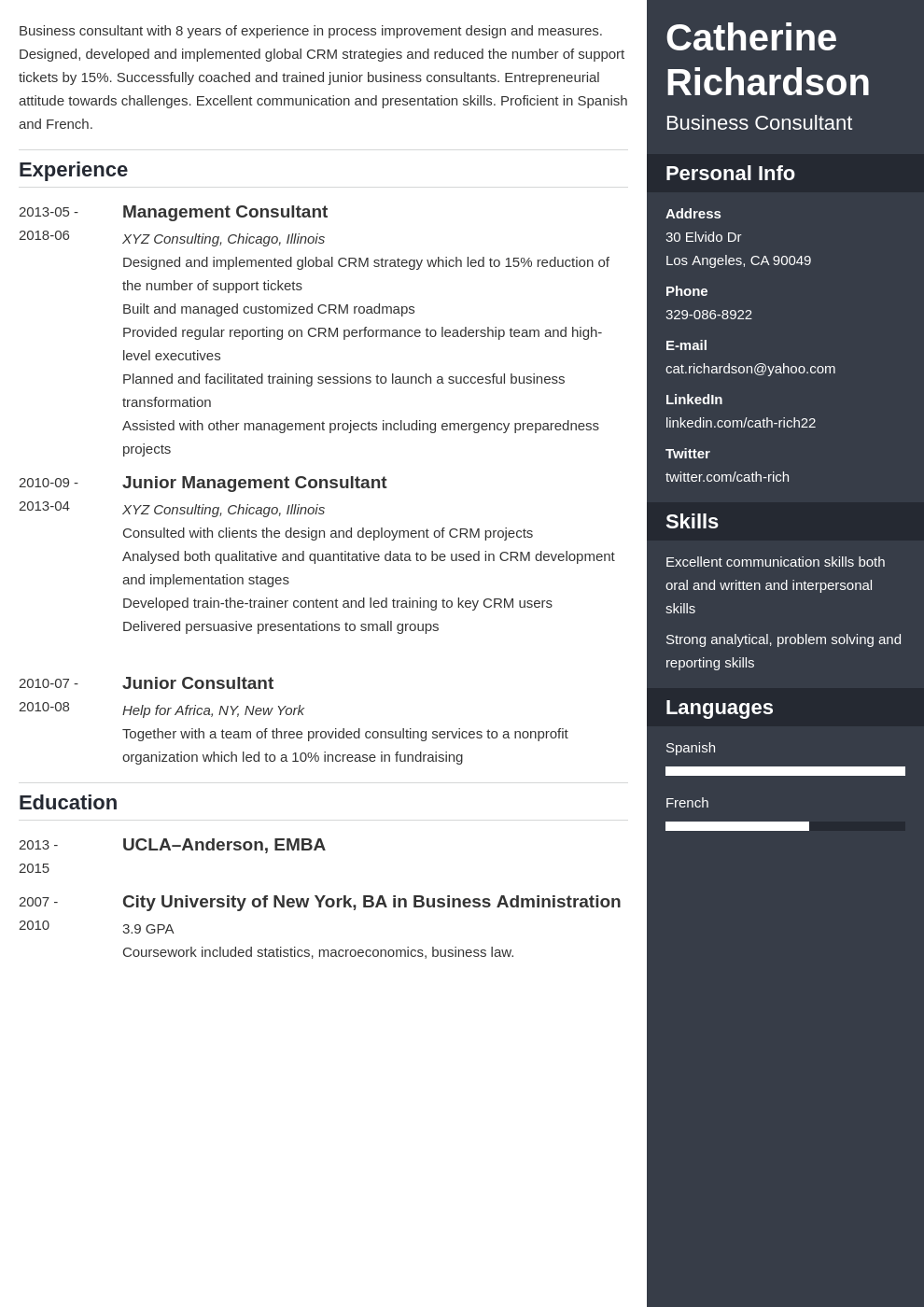 consultant resume example template enfold