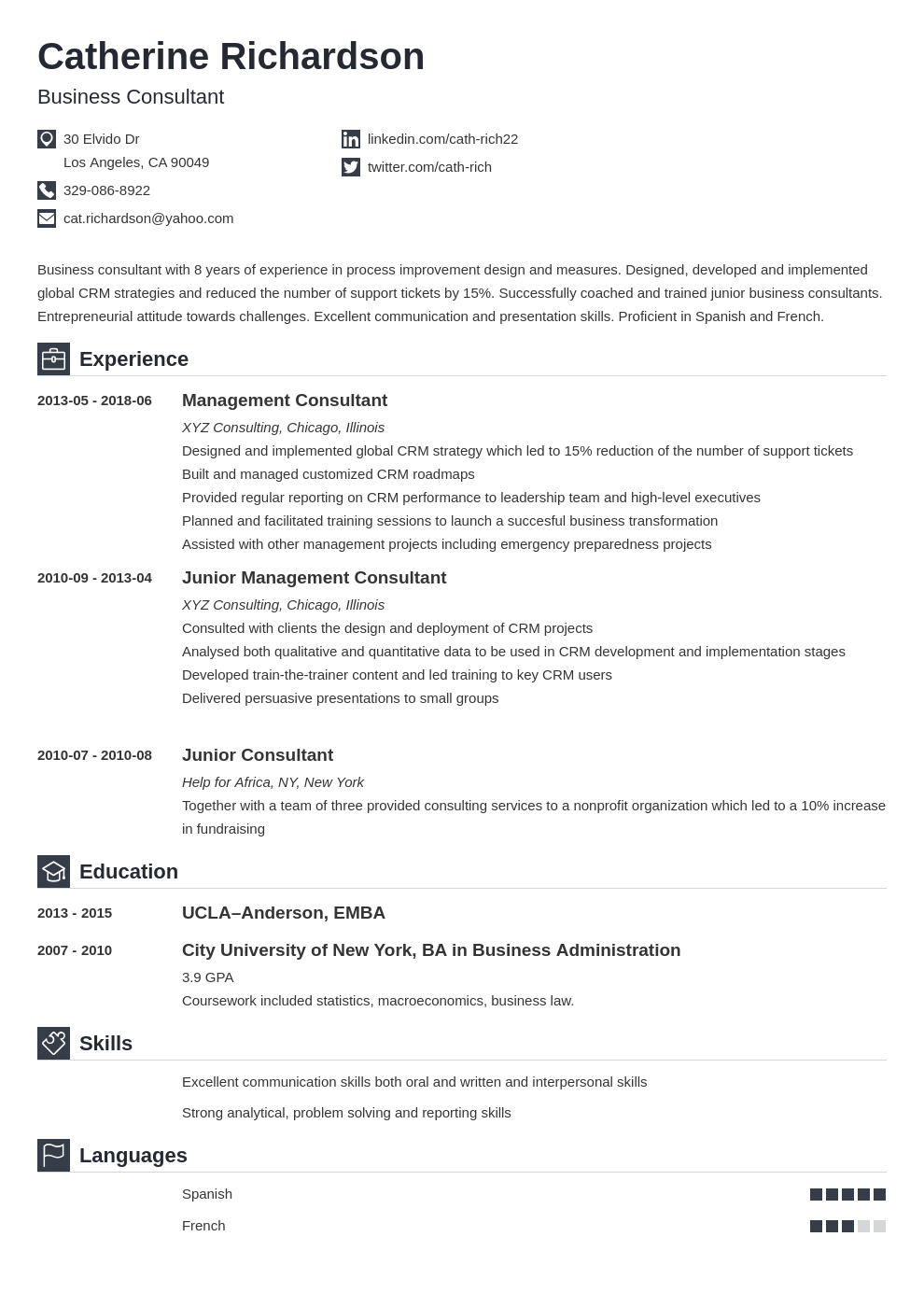 consultant resume example template iconic
