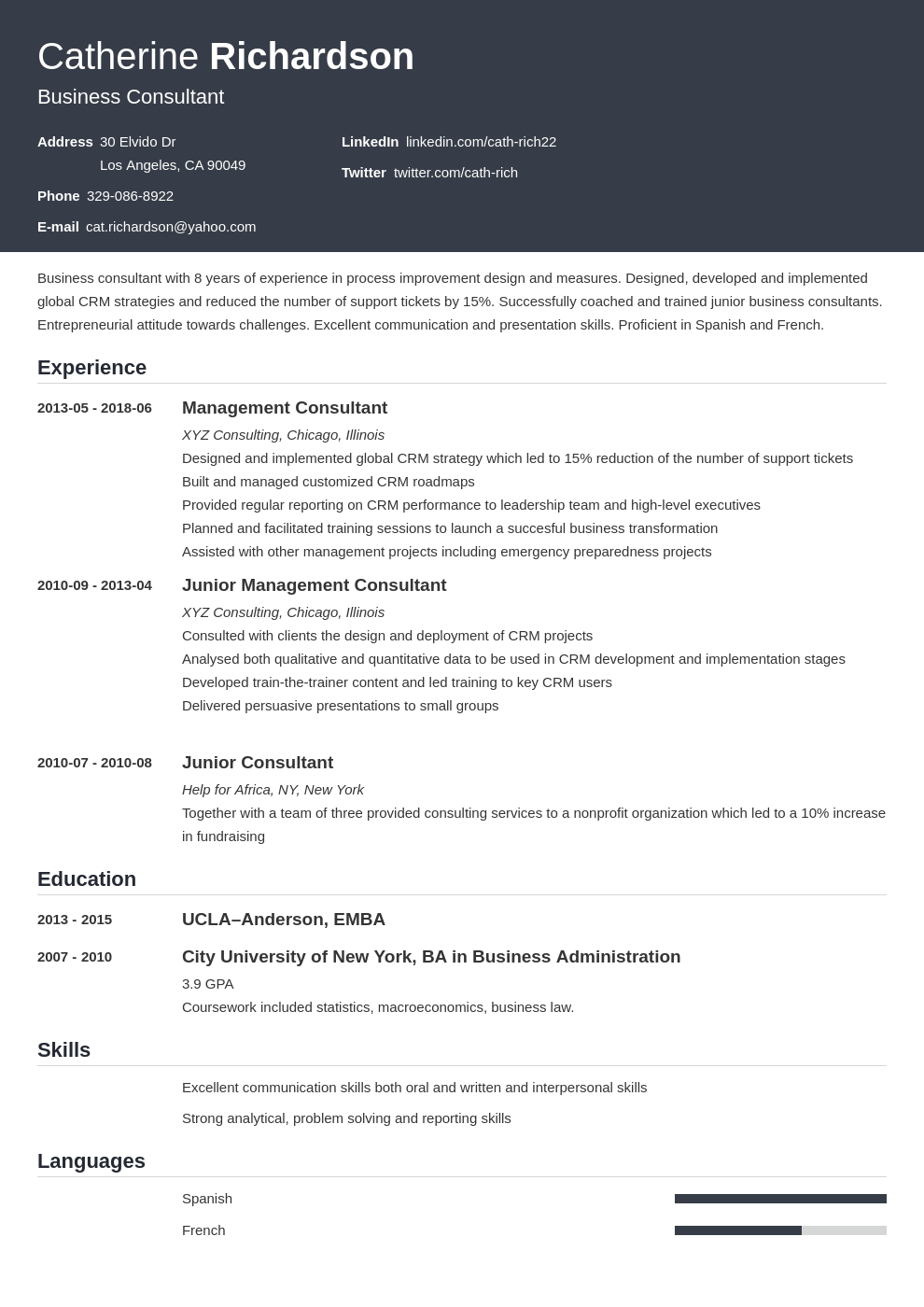 consultant resume example template influx
