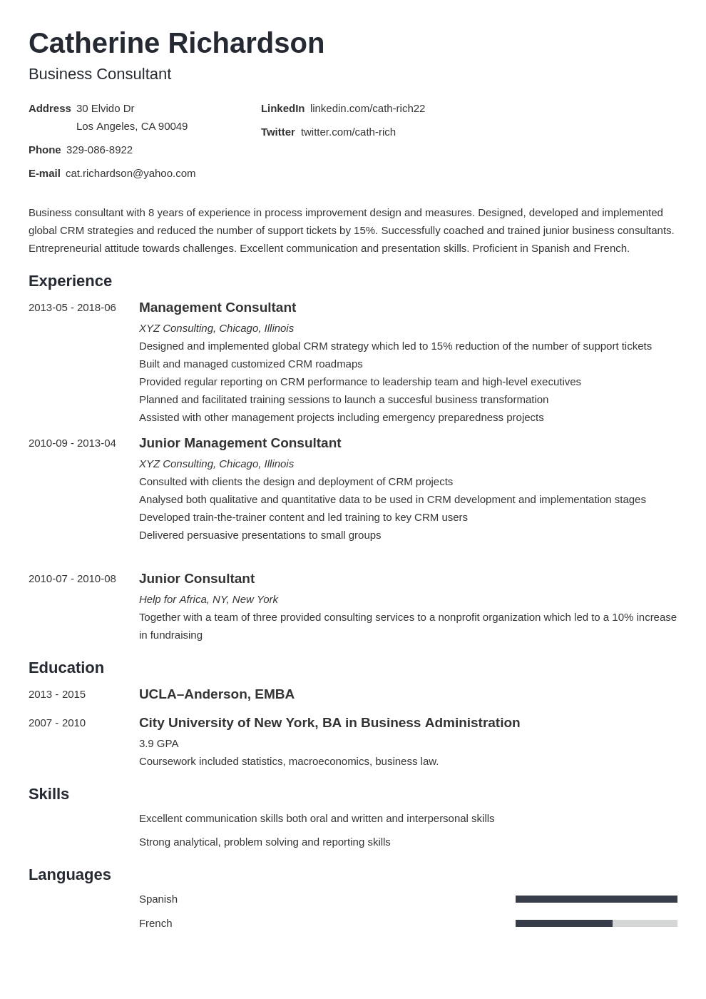 consultant resume example template minimo