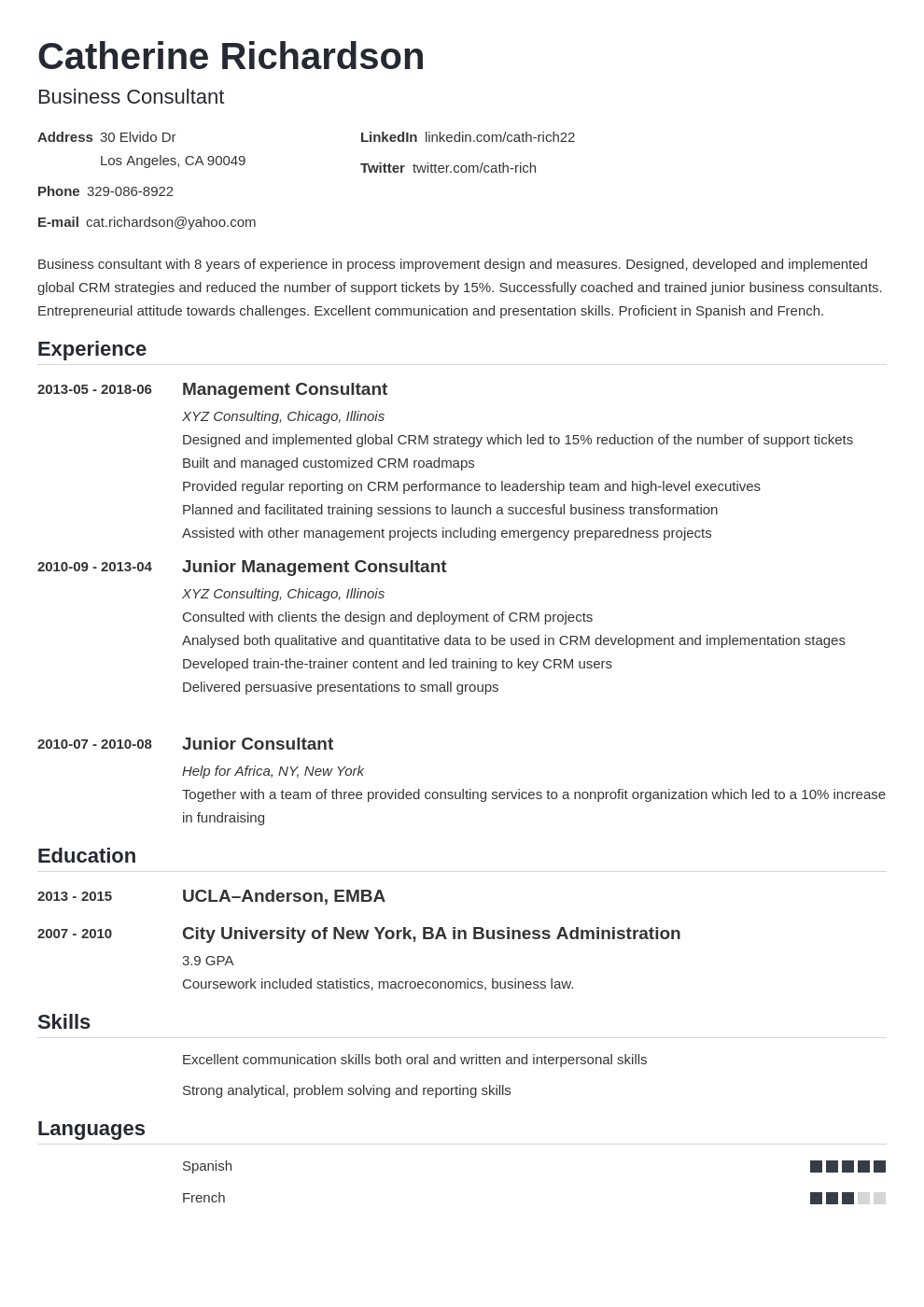 consultant resume example template nanica