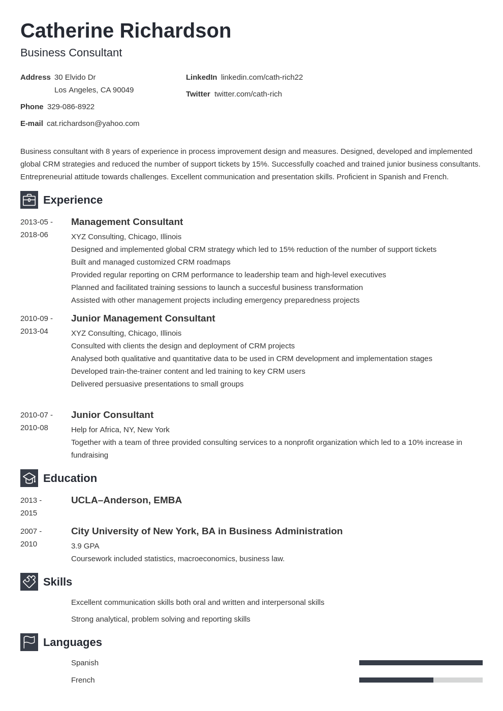 consultant resume example template newcast
