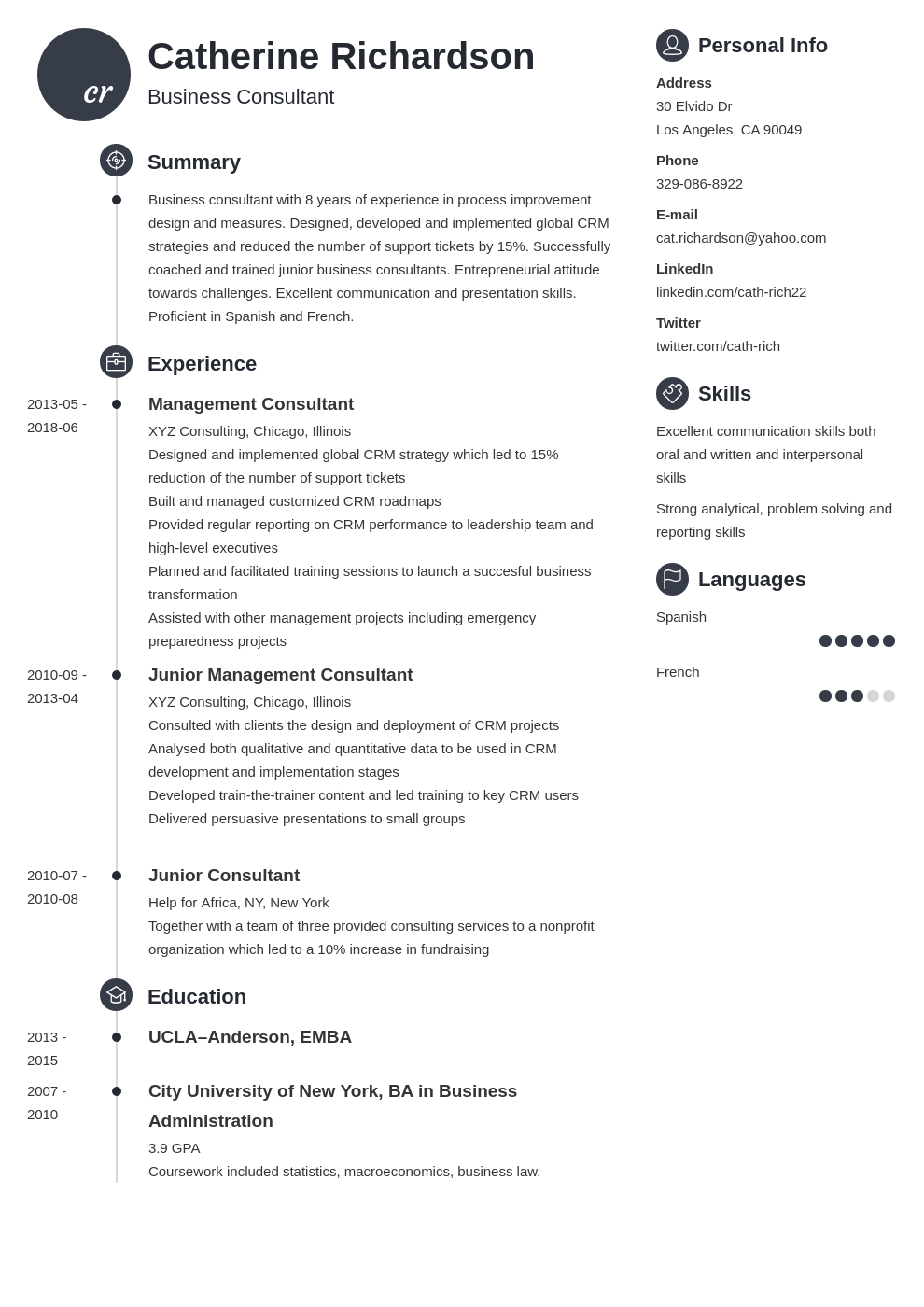 consultant resume example template primo
