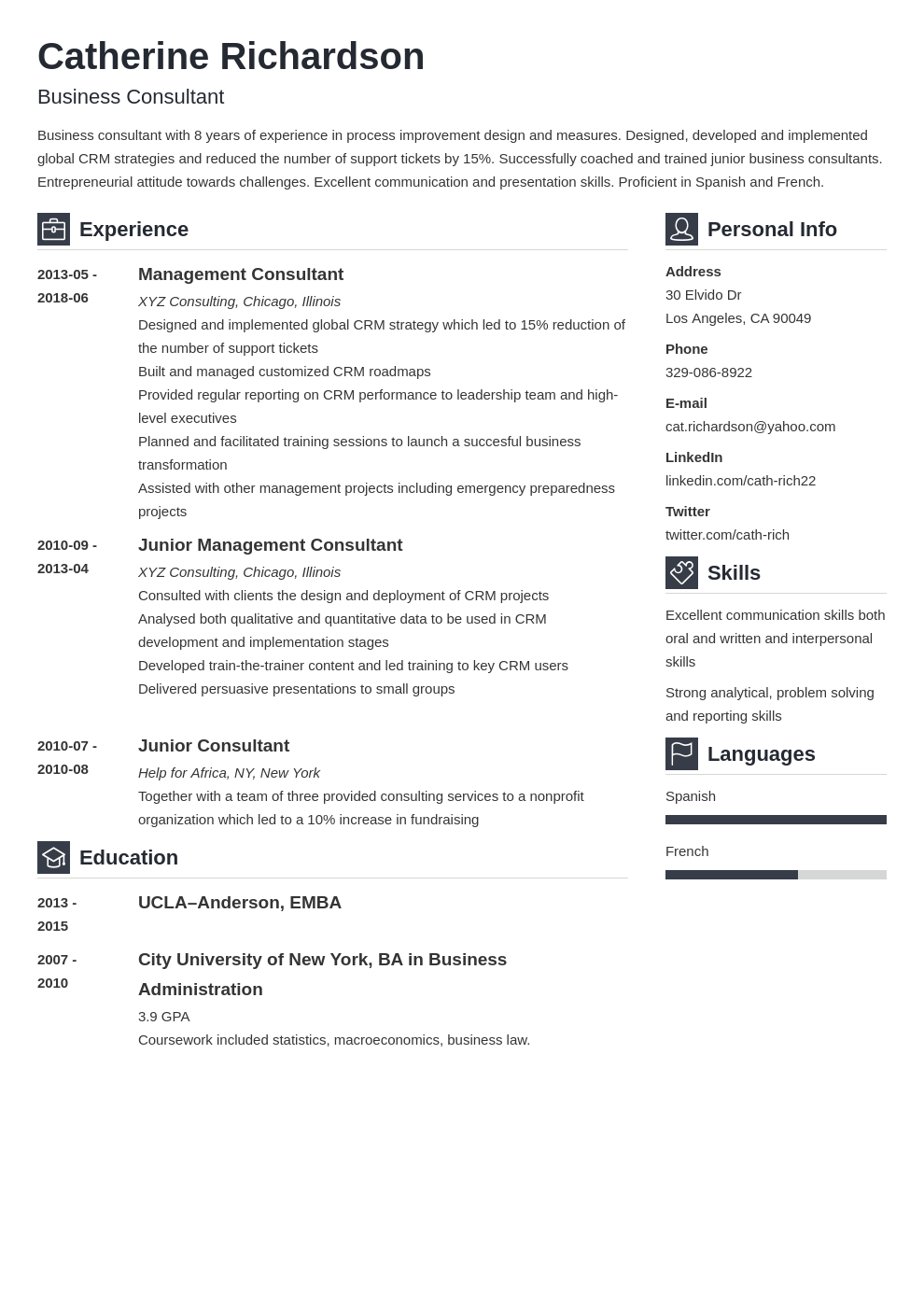 consultant resume example template vibes