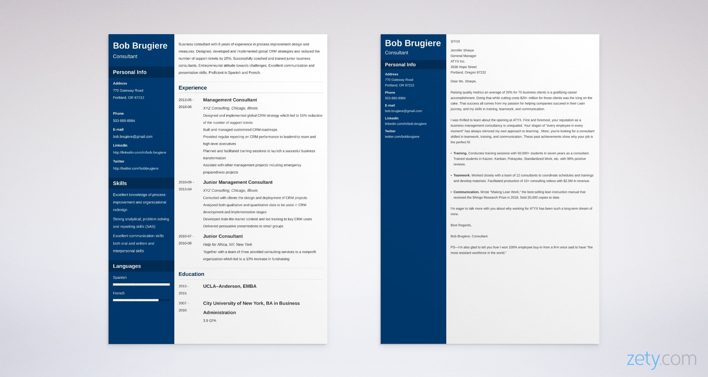 consulting resume and cover letter set