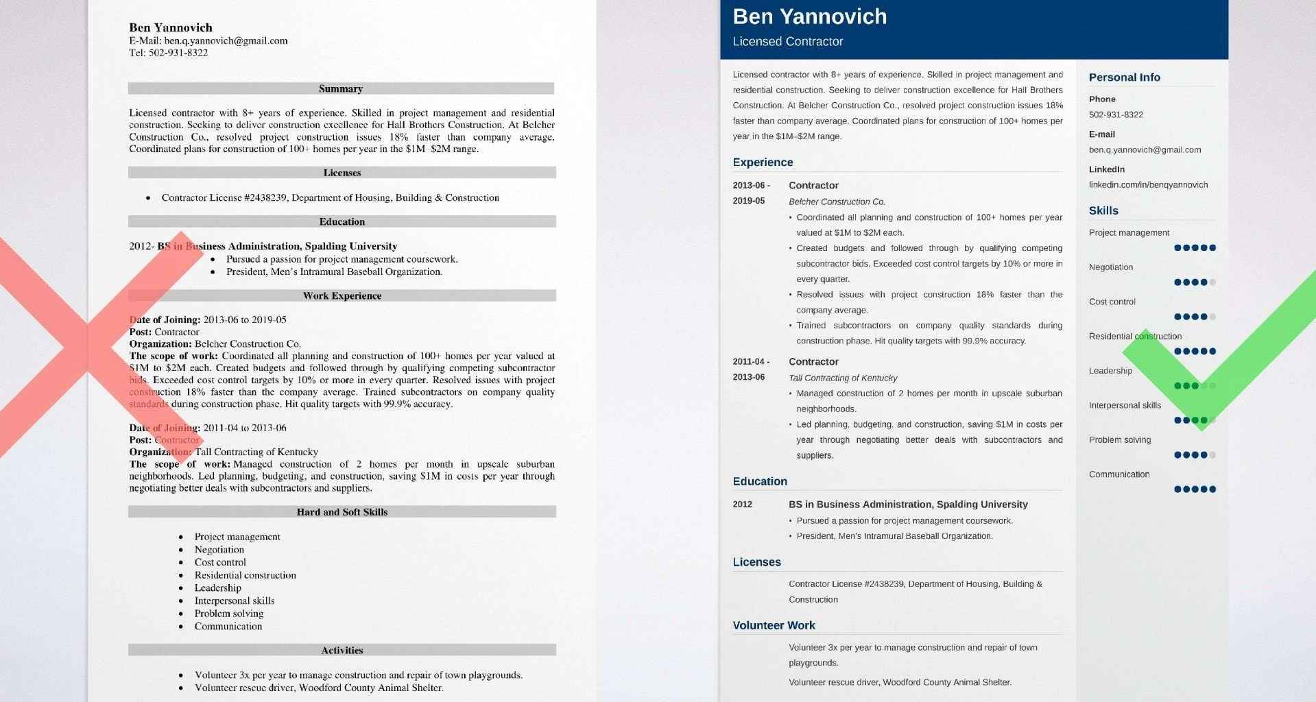 contractor resume templates