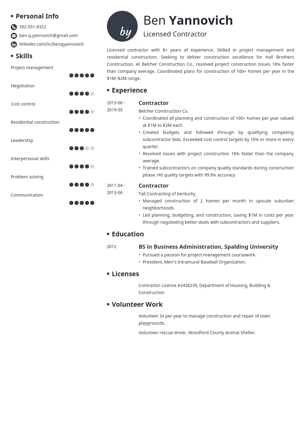 contractor resume example template initials