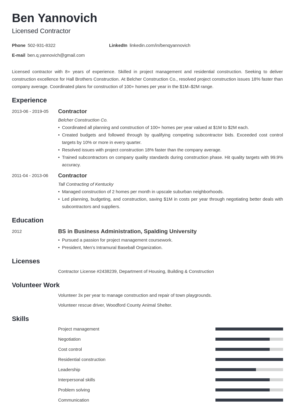 contractor resume example template minimo