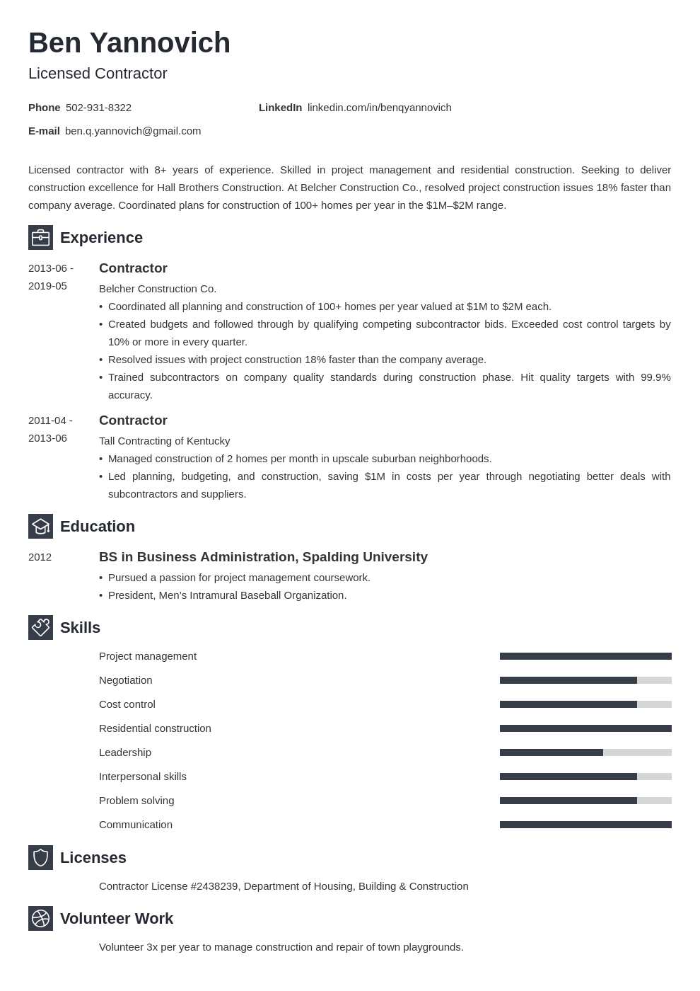 contractor resume example template newcast