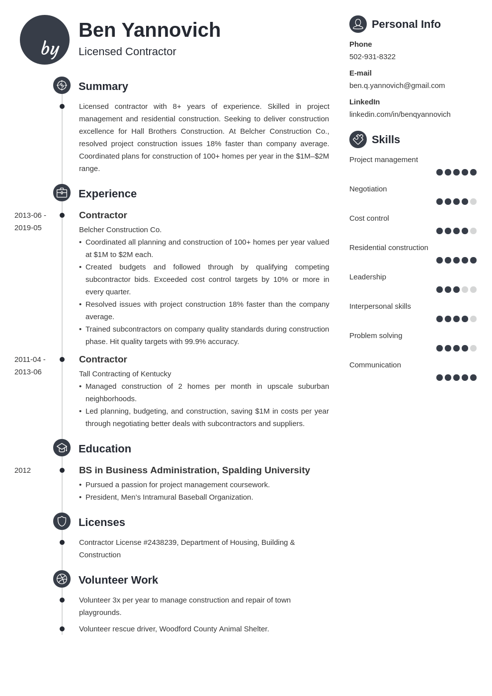 contractor resume example template primo