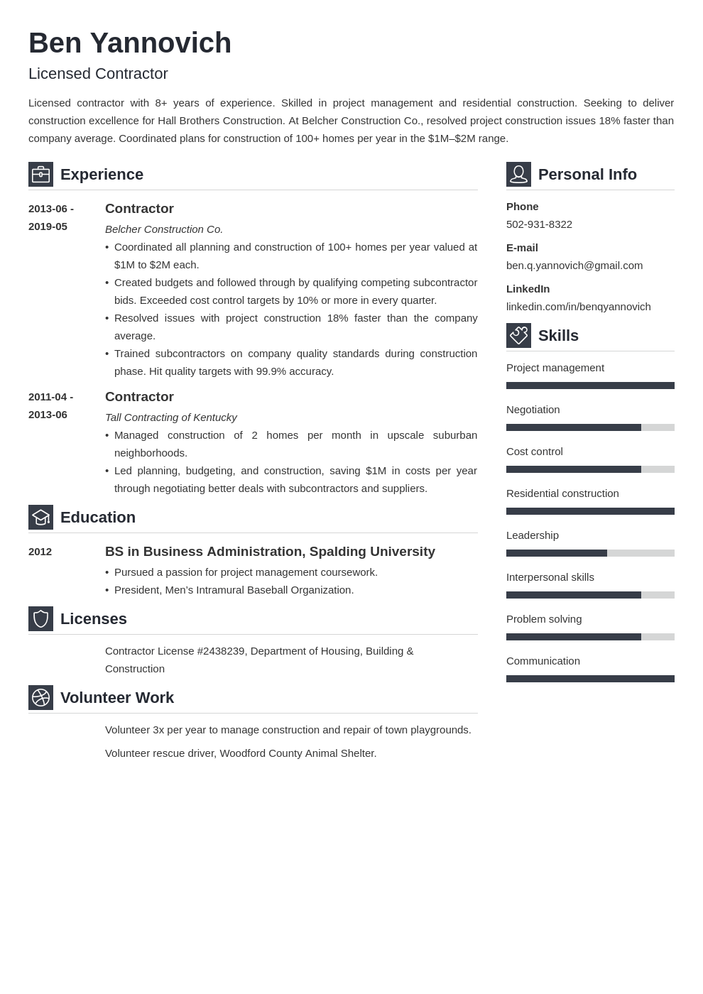 contractor resume example template vibes