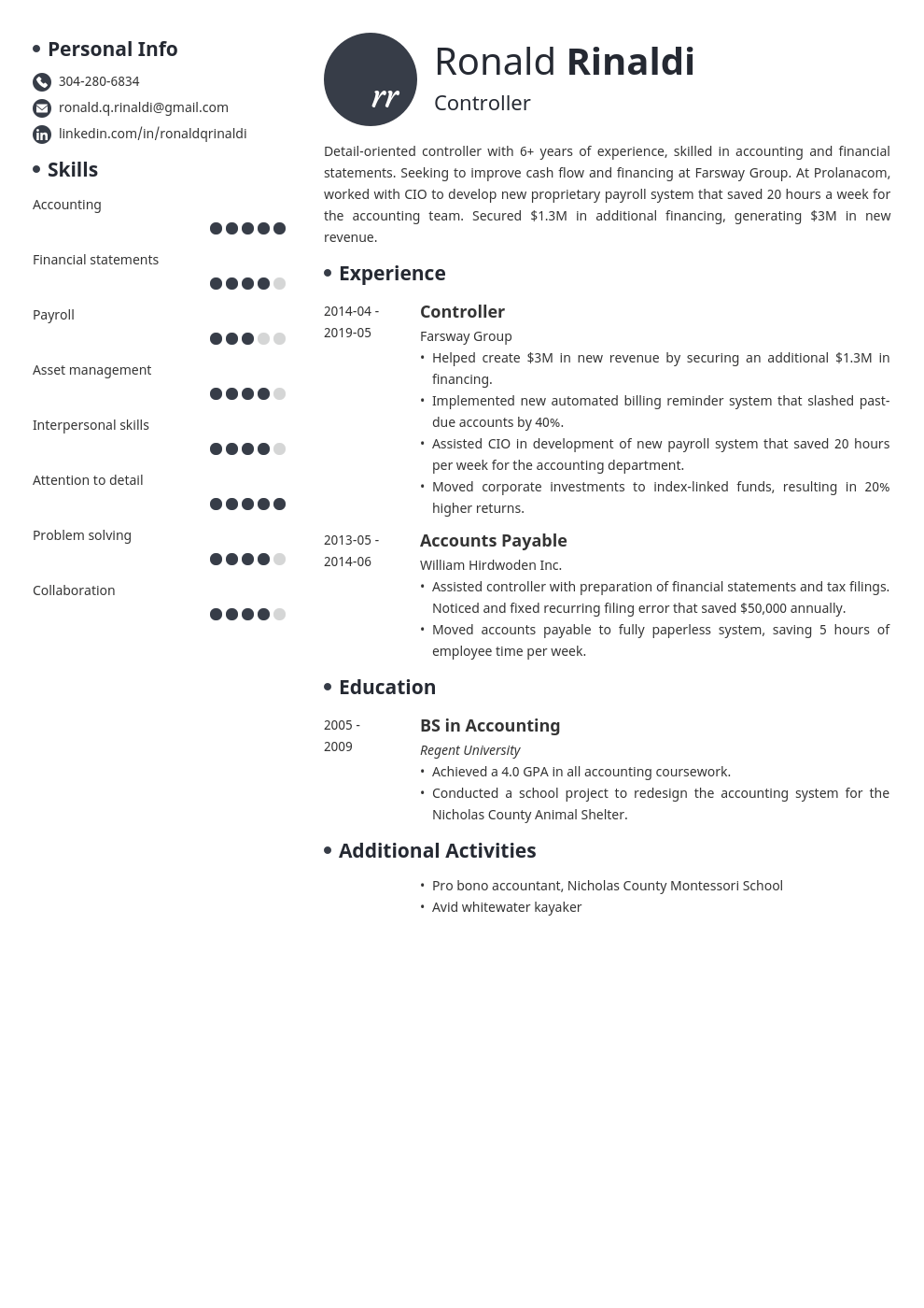 controller resume example template initials