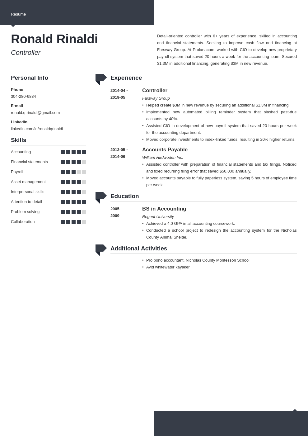 controller resume example template modern