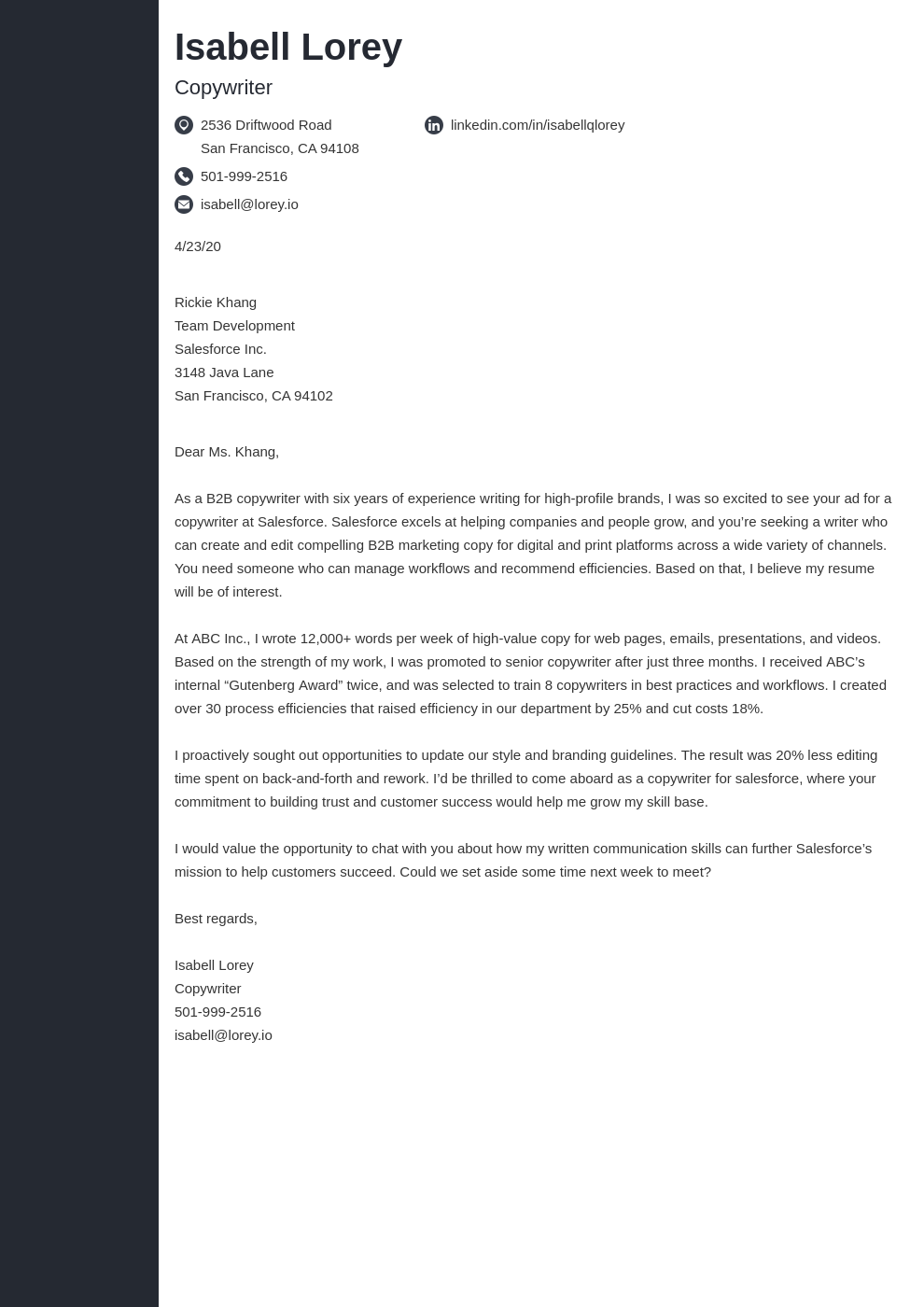 Copywriter Cover Letter Examples Writing Guide