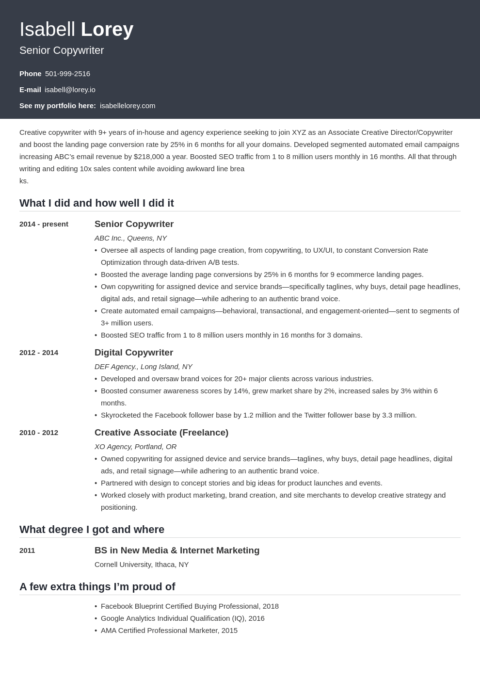 copywriter resume example template influx