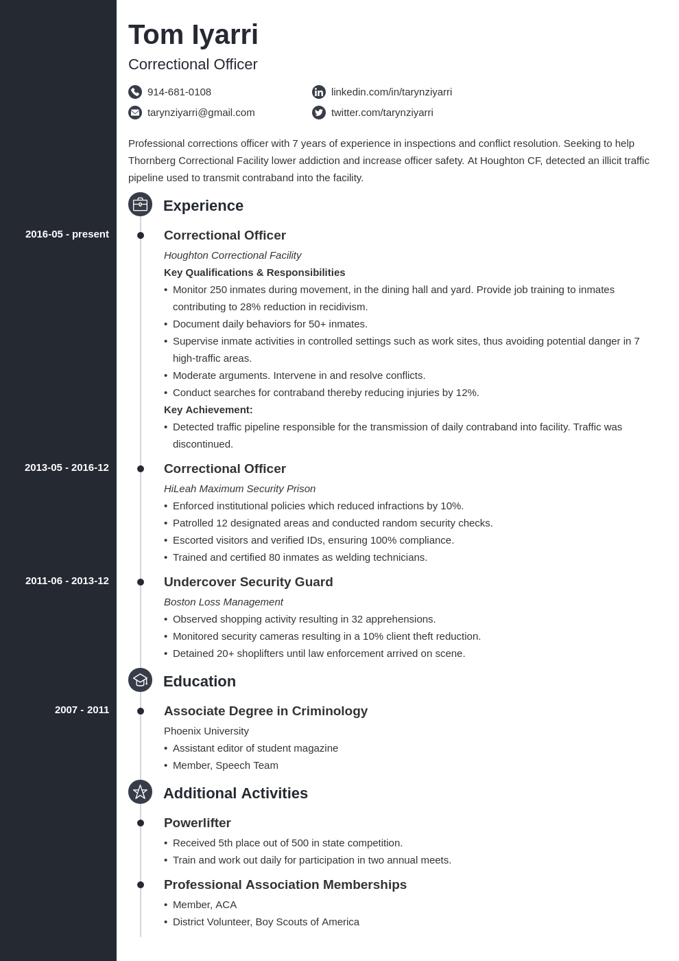 correctional officer resume example template concept