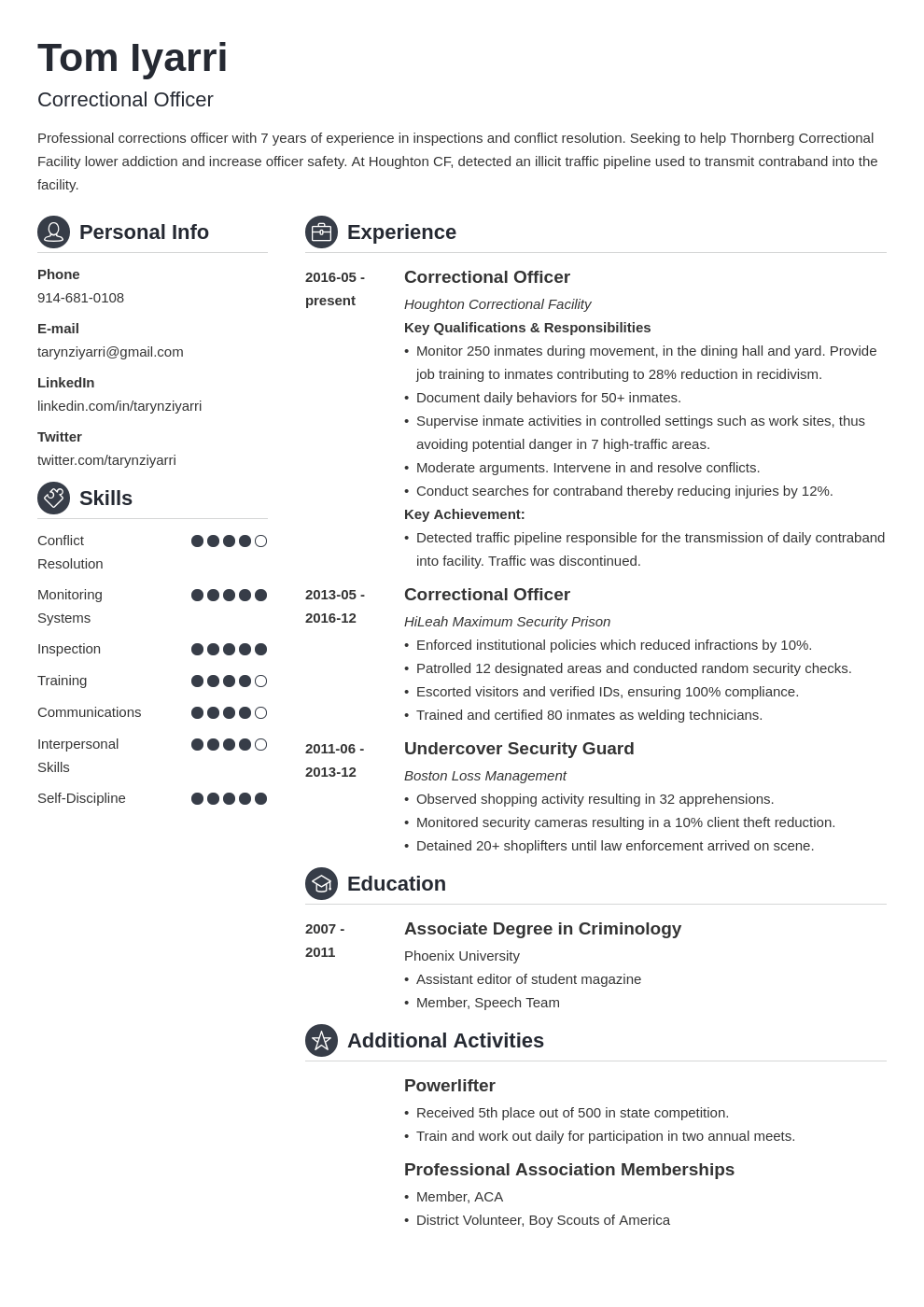 correctional officer resume example template crisp