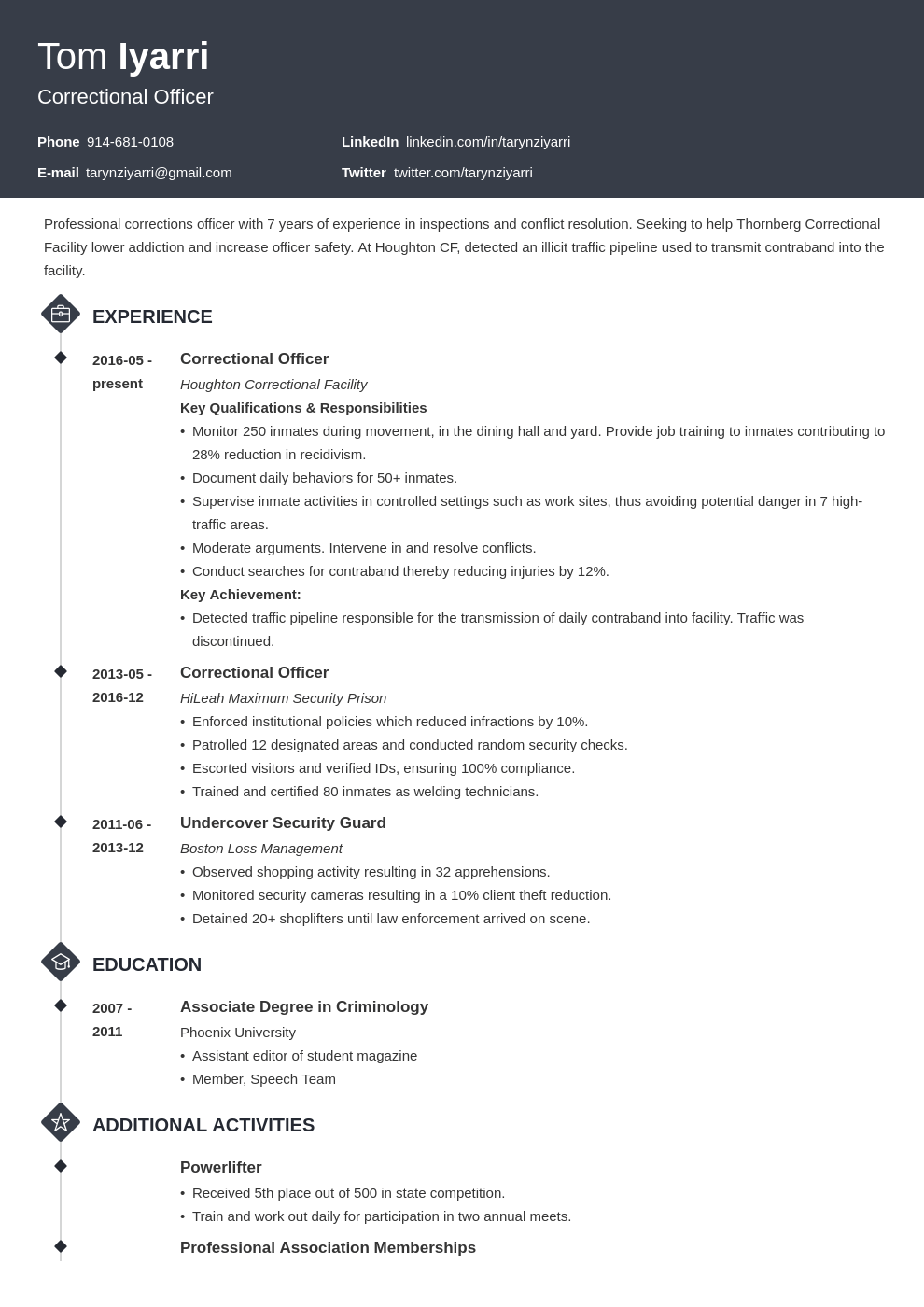 correctional officer resume example template diamond