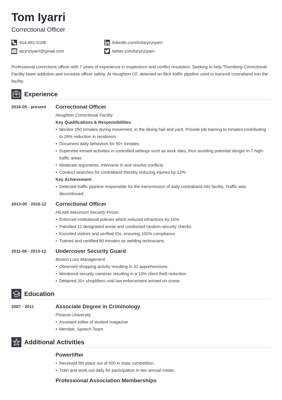 correctional officer resume example template iconic