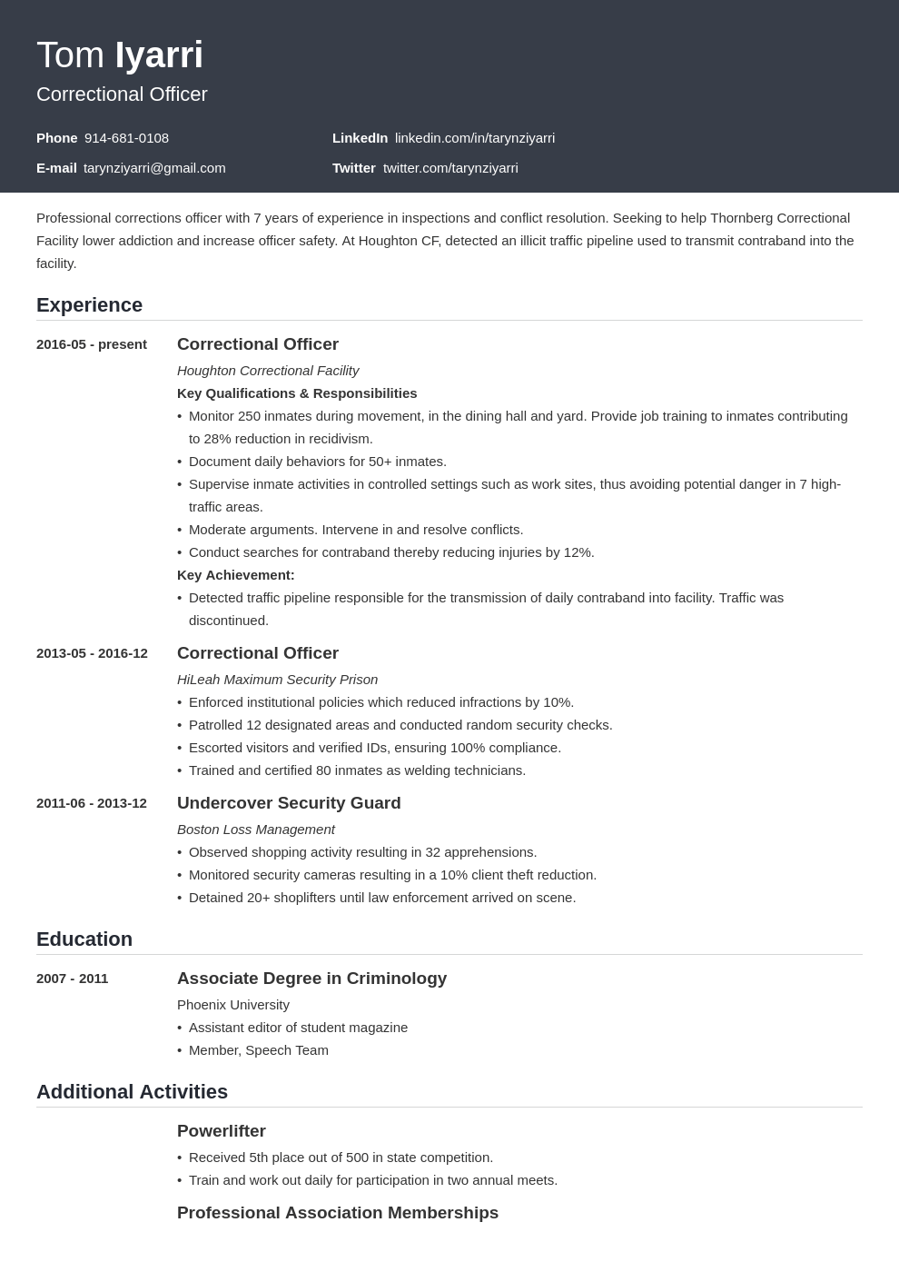 correctional officer resume example template influx