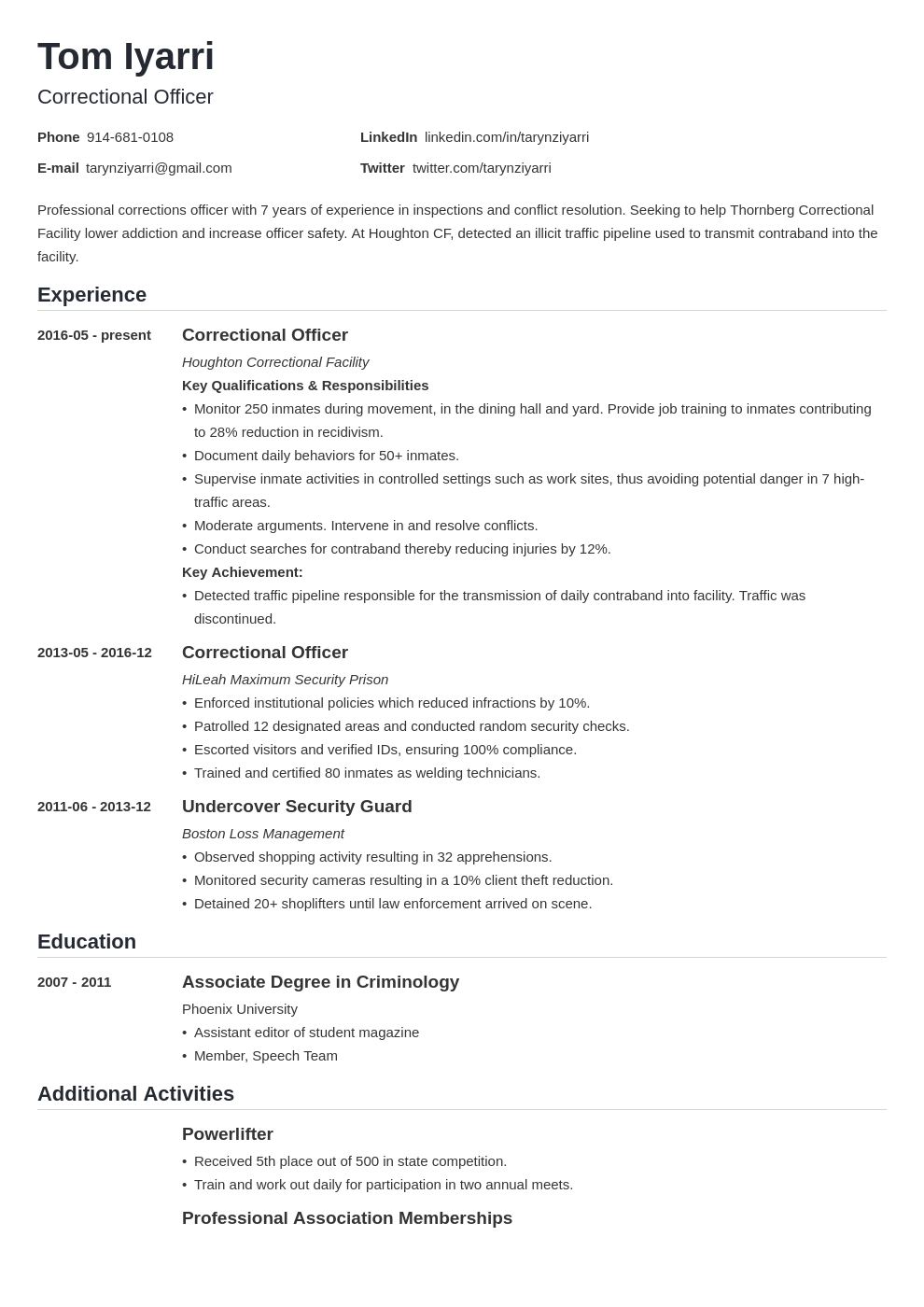 correctional officer resume example template nanica