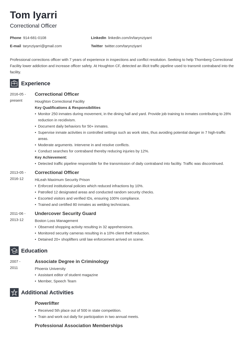 correctional officer resume example template newcast