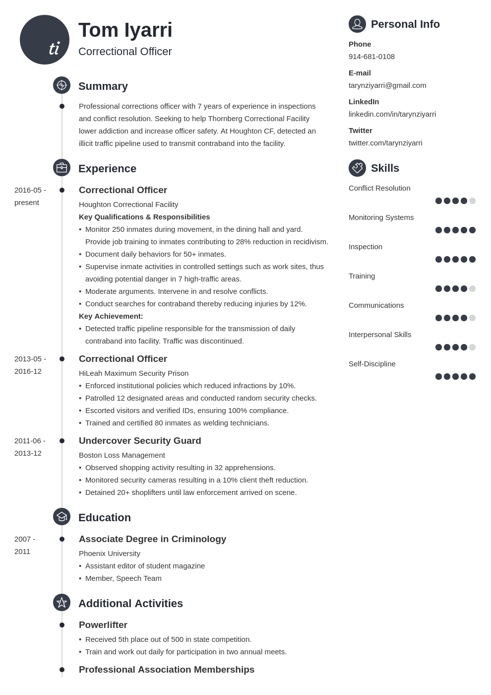 correctional officer resume example template primo
