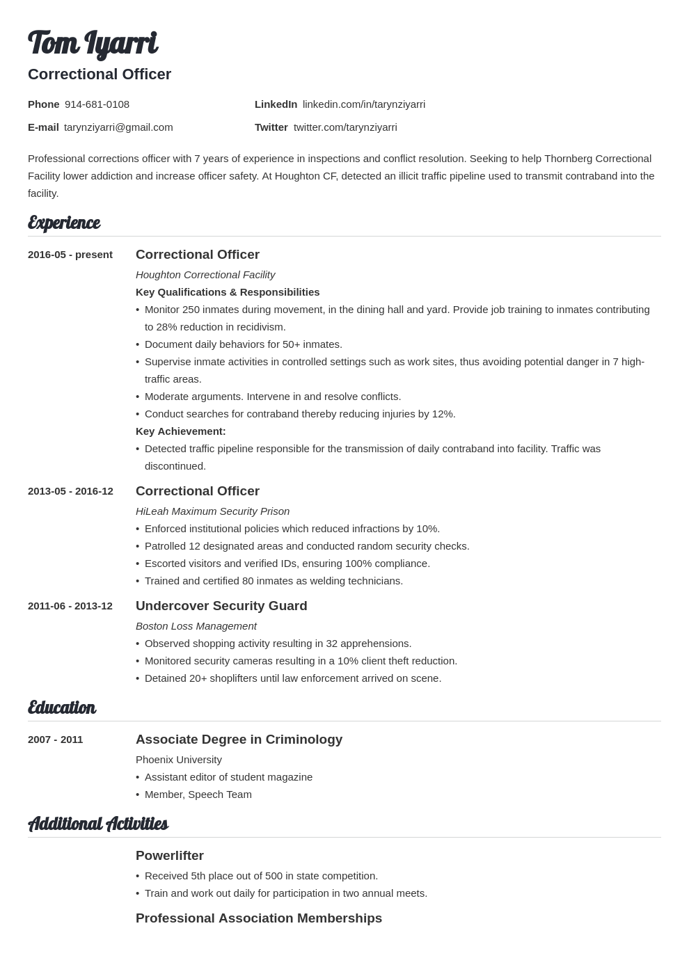correctional officer resume example template valera