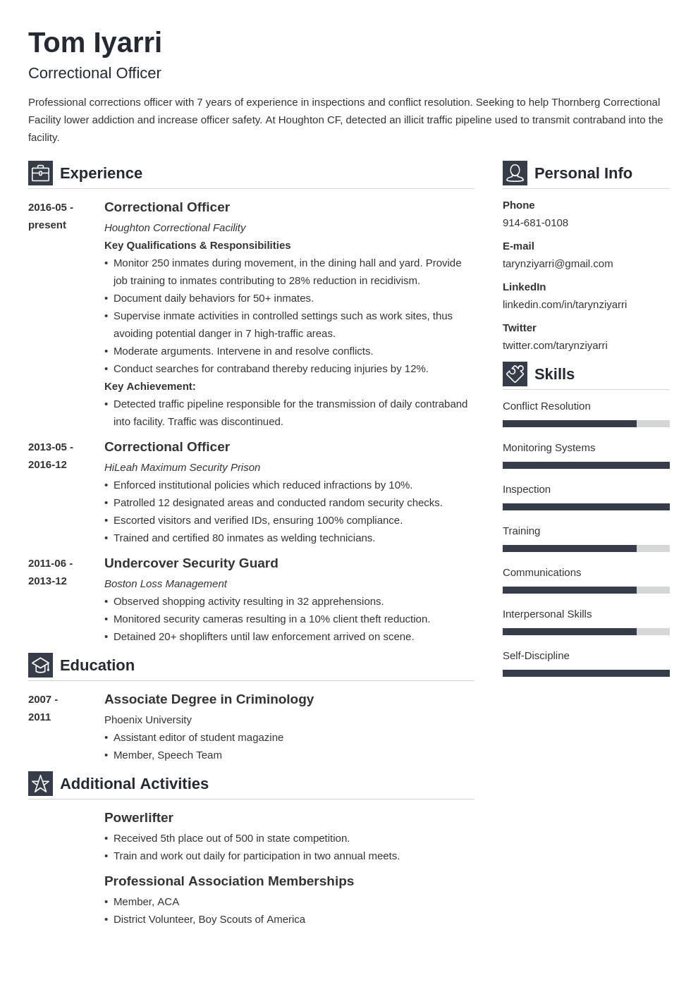 correctional officer resume example template vibes