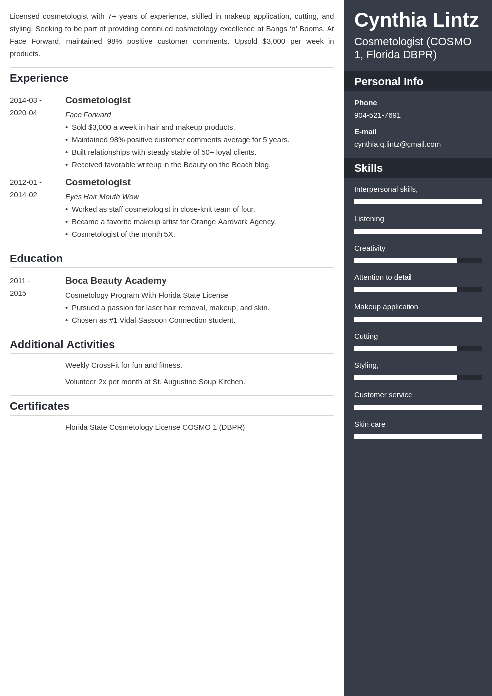 cosmetology resume example template enfold