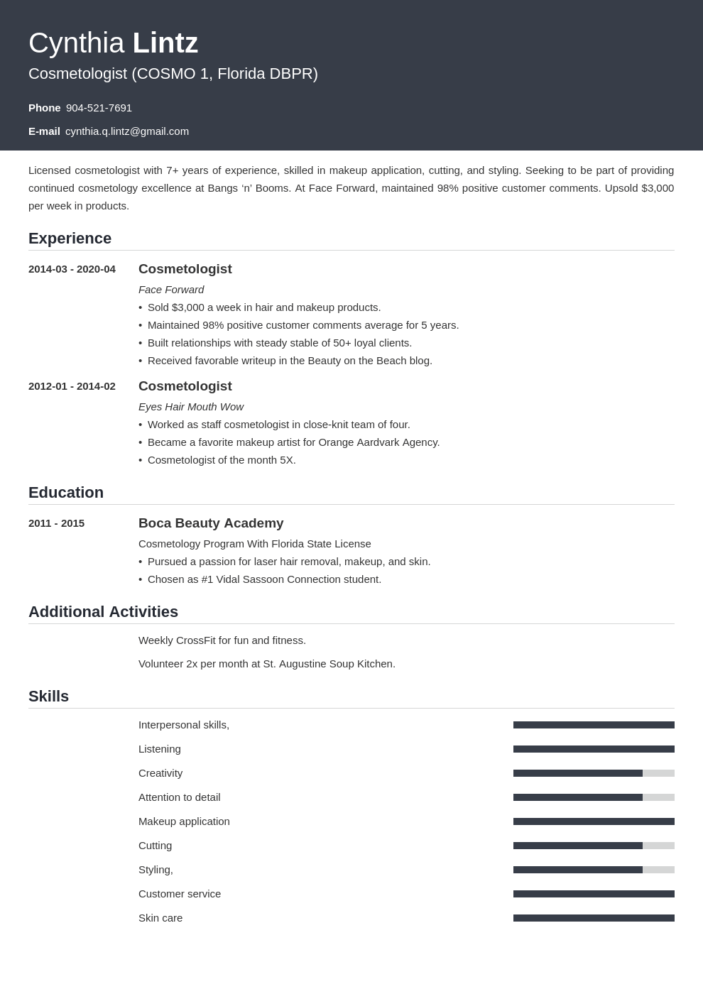 cosmetology resume example template influx