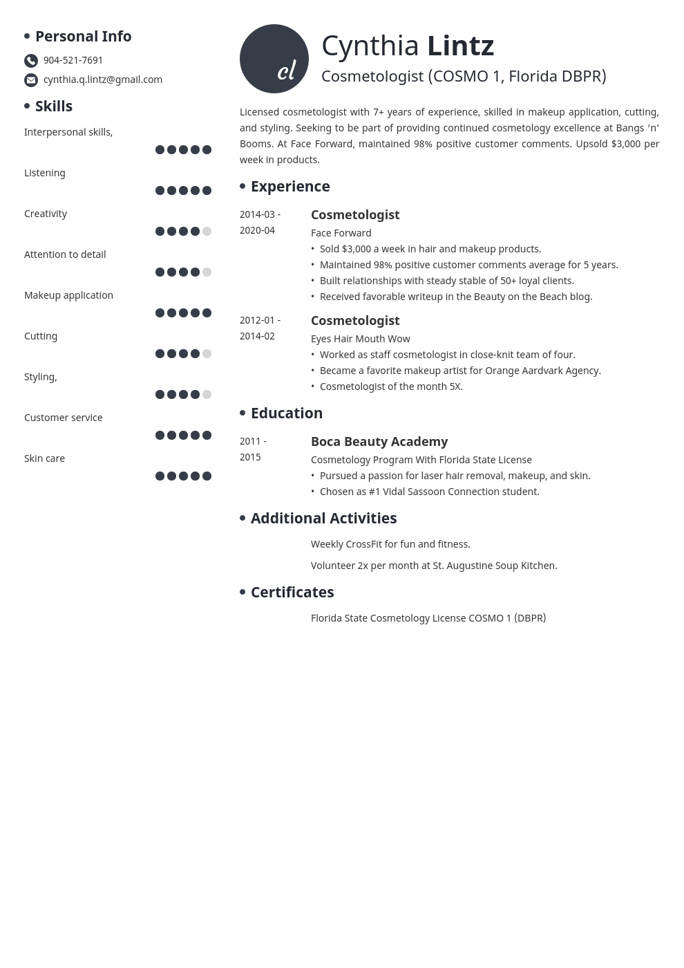 cosmetology resume example template initials