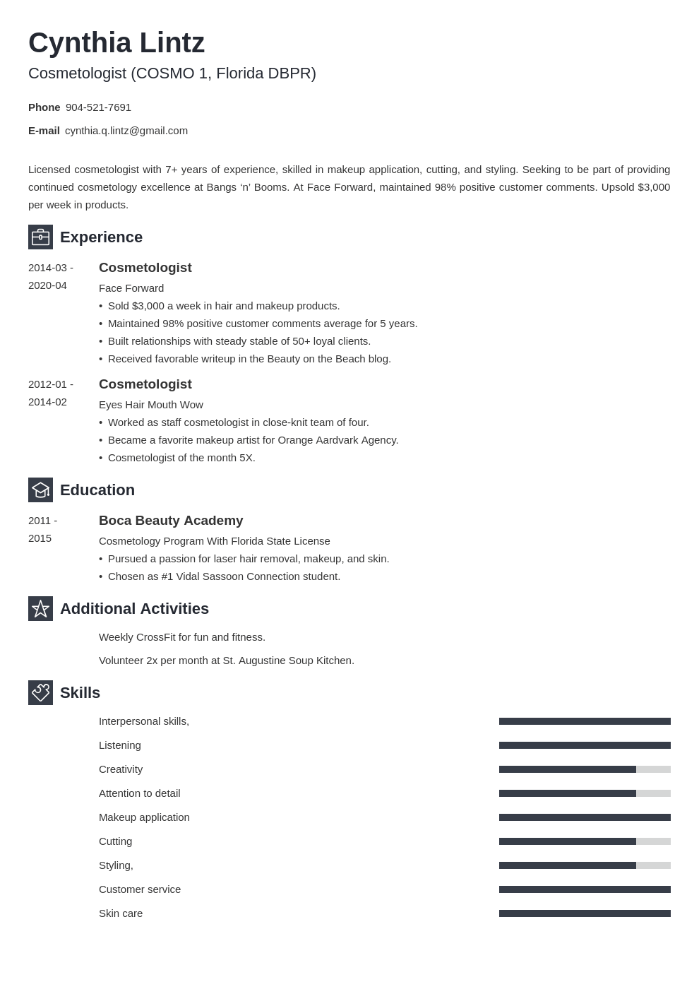 cosmetology resume example template newcast