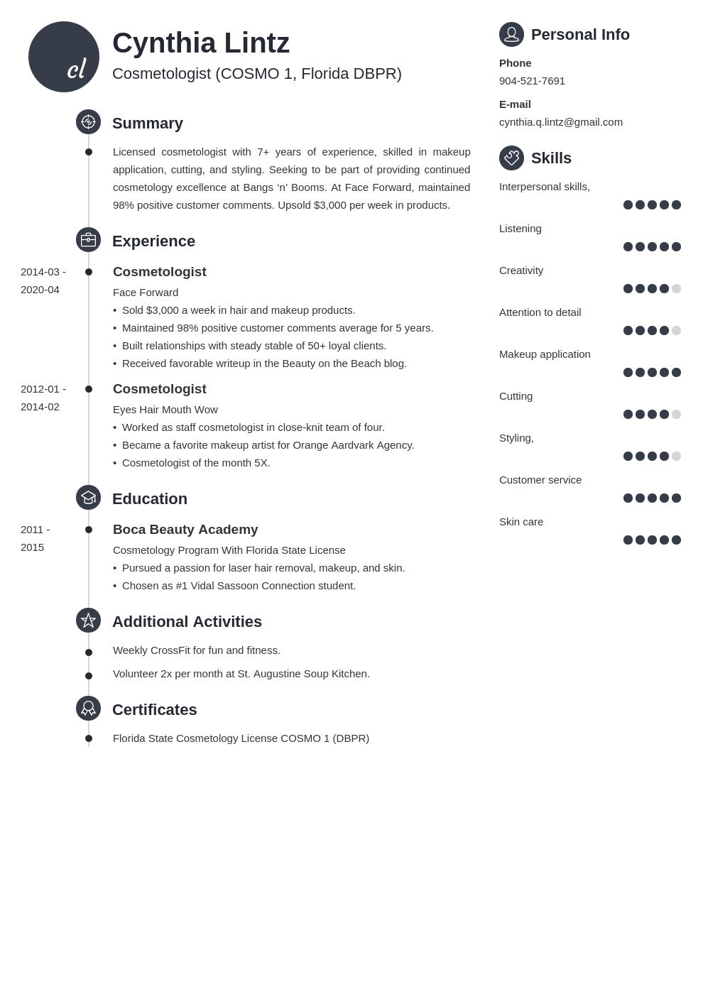 cosmetology resume example template primo