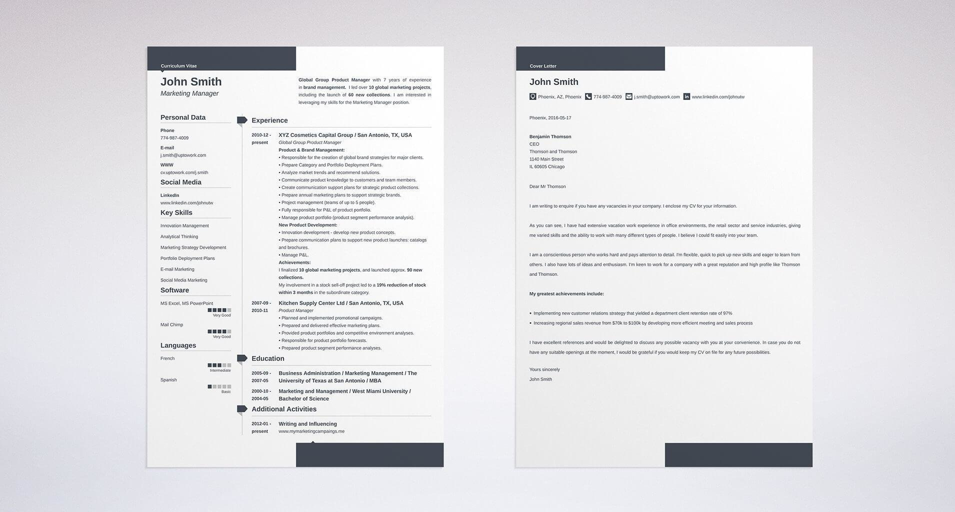 sample cover letter created using the uptowork builder - Administration Resume Template