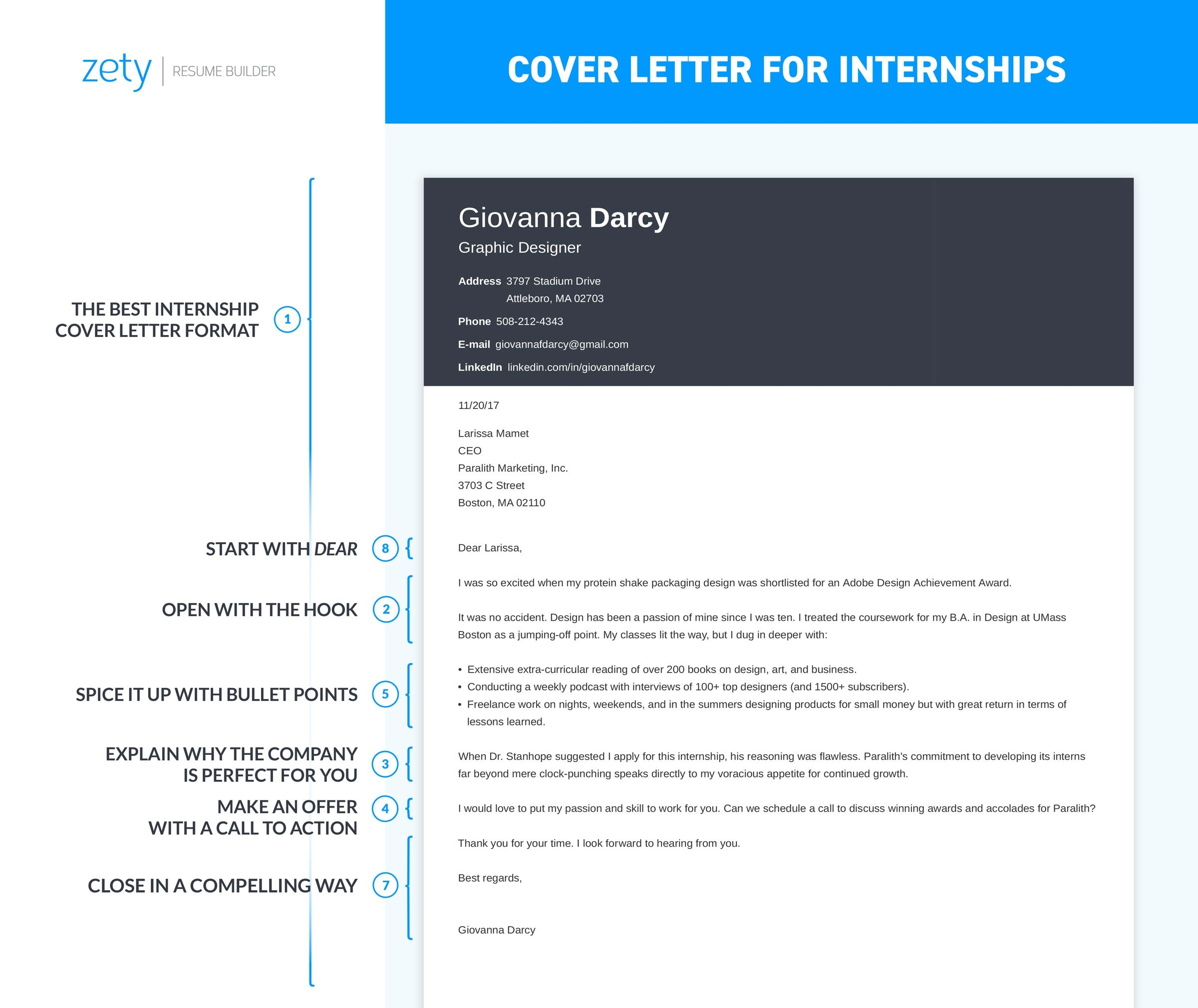 cover letter for an internship Your cover letter is a way to introduce yourself to organizations in a narrative form that will accompany your resume use your cover letter to describe your.