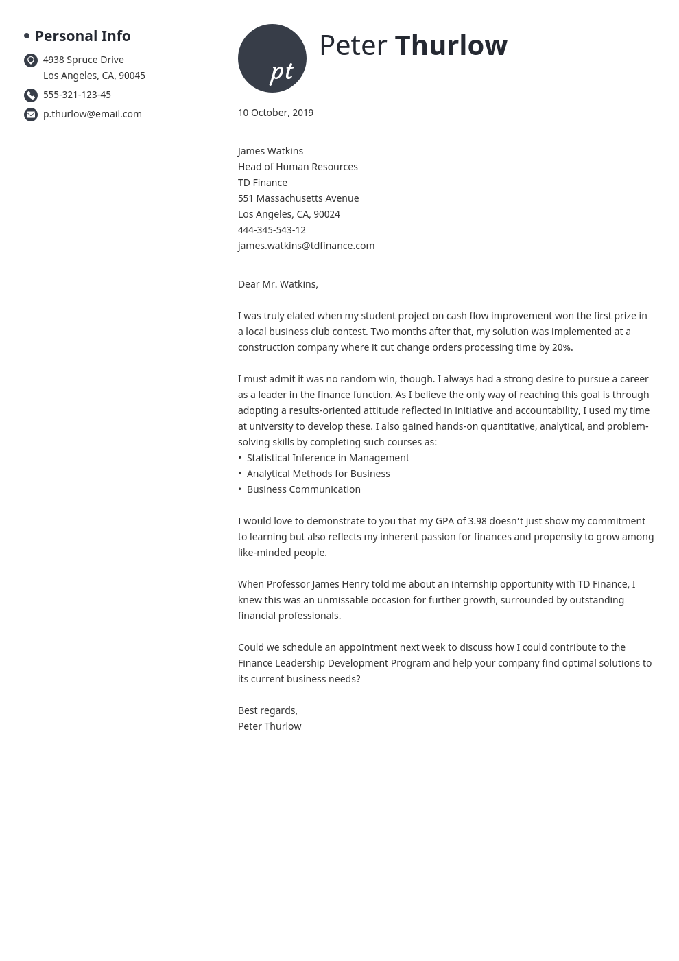 Cover Letter For An Internship Examples Tips For All Interns