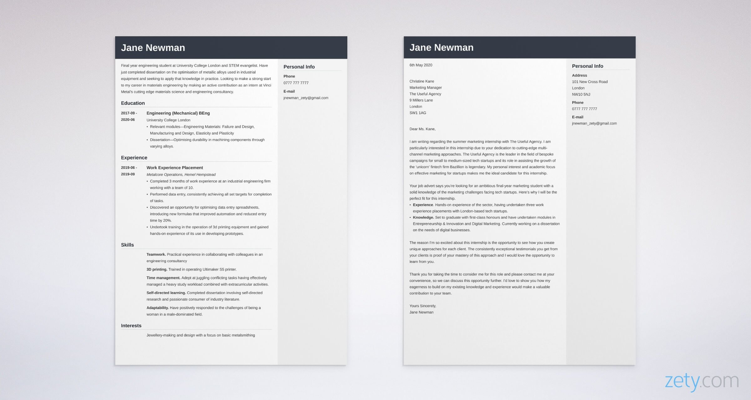 Cover Letter For An Internship Example Writing Guide