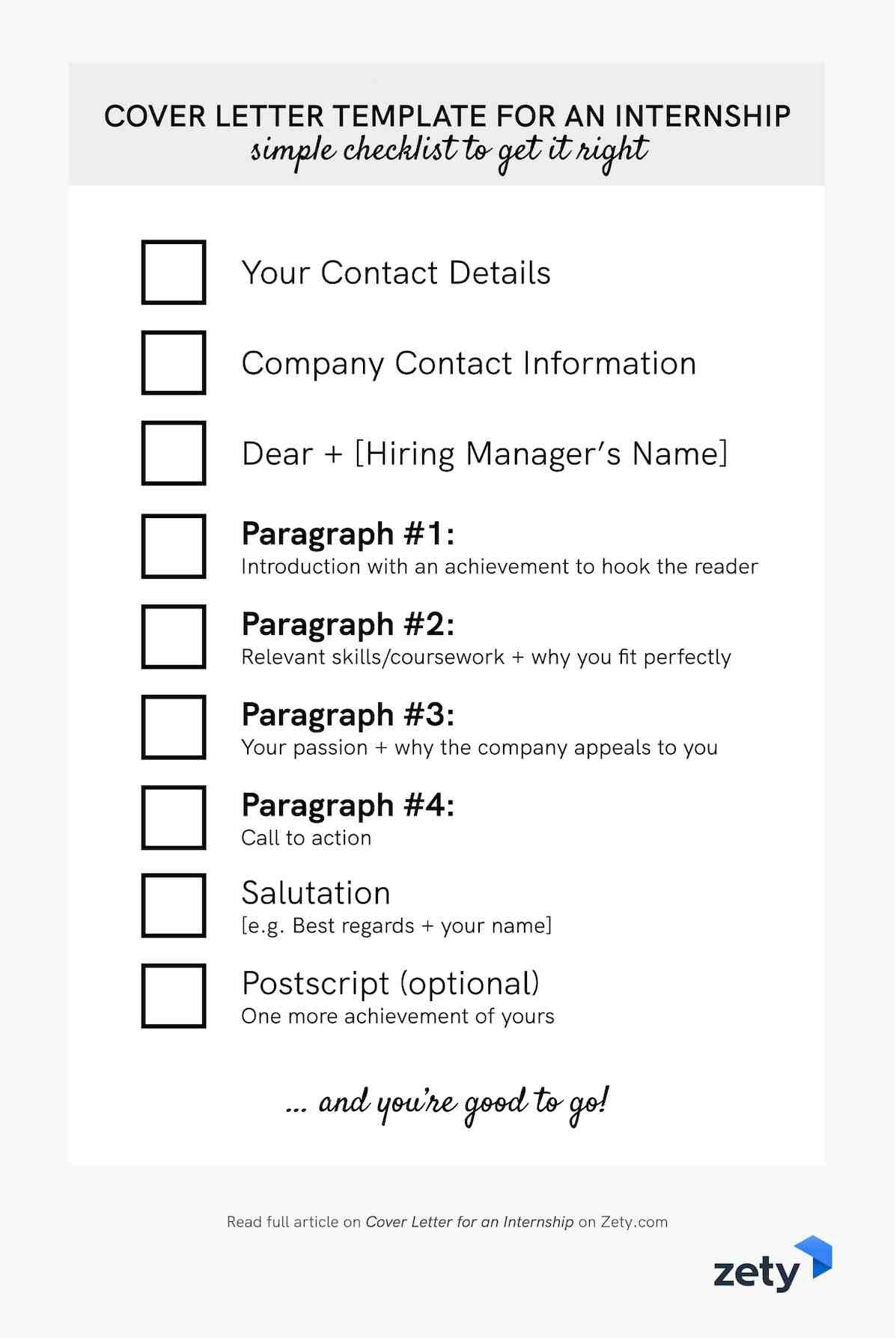 Cover letter template for an internship - checklist
