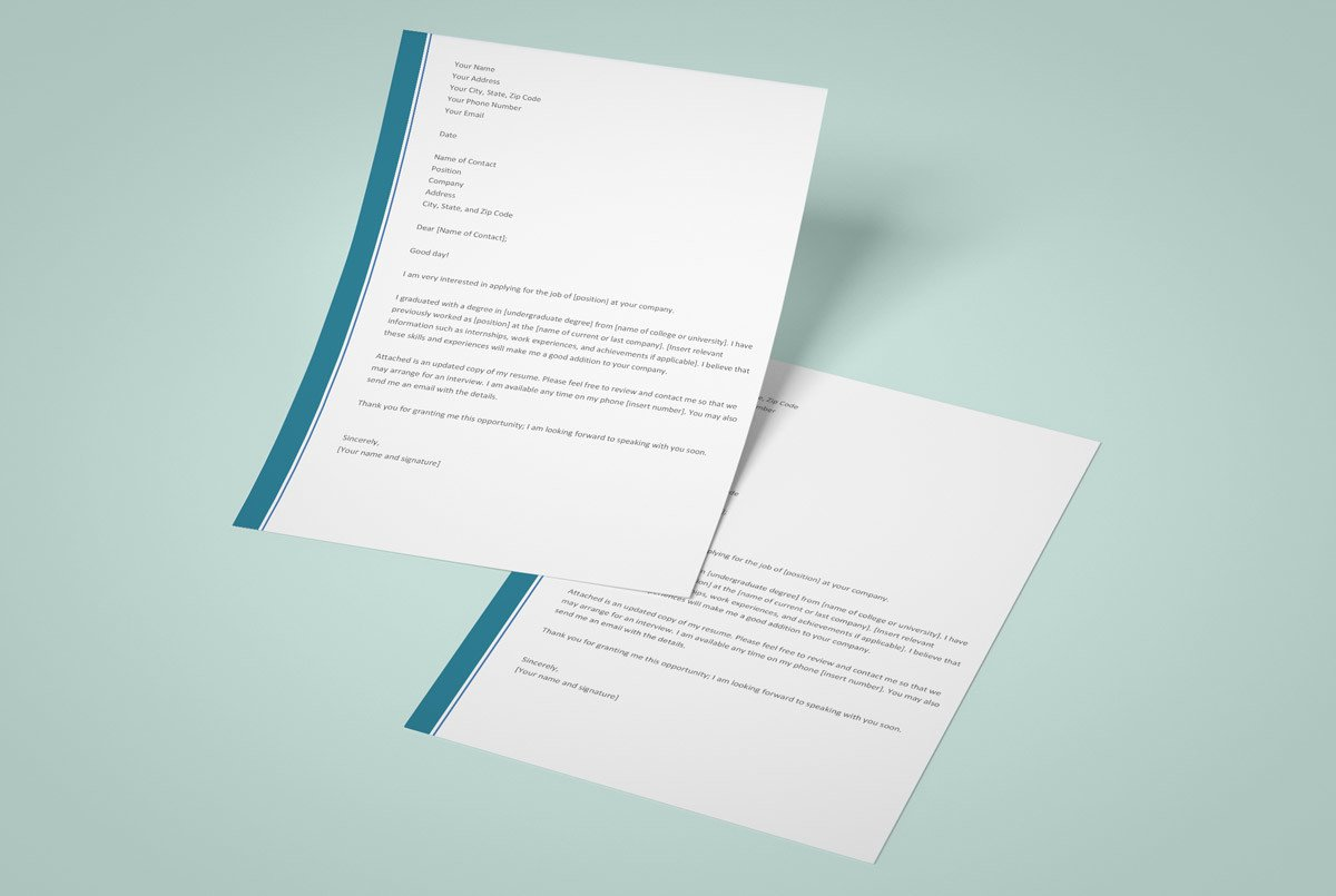 resume cover letter word templates