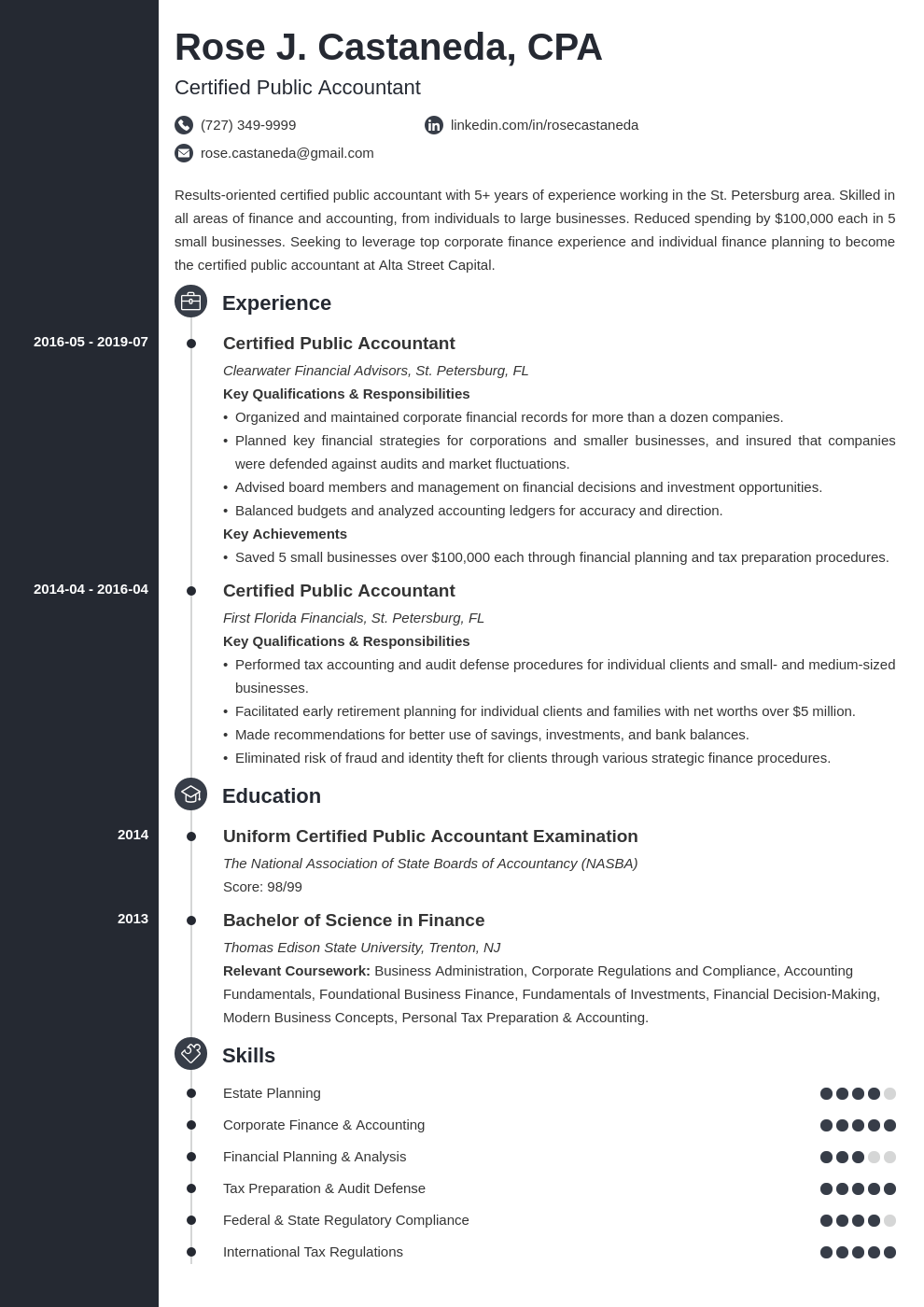 cpa resume example template concept