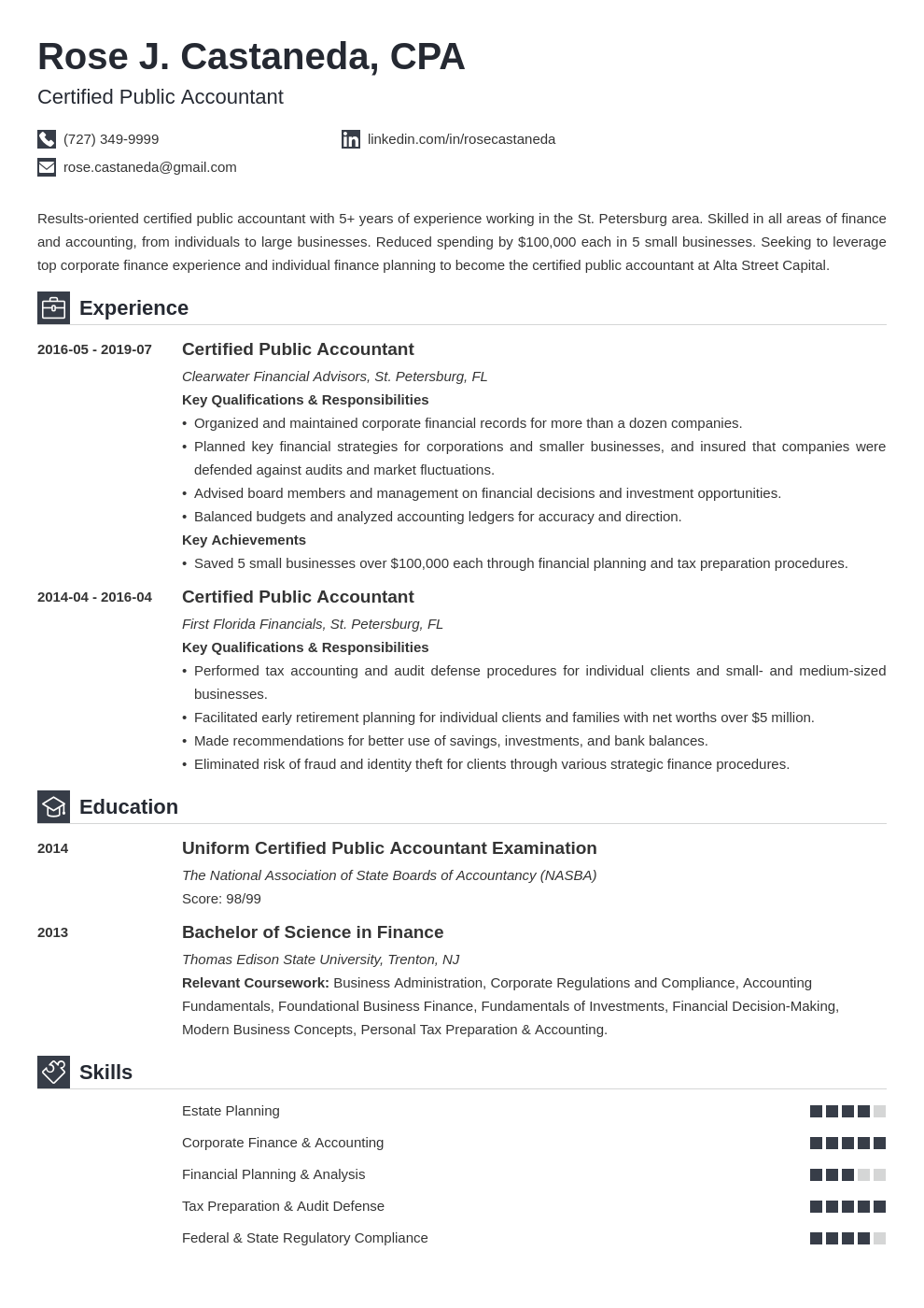 cpa resume example template iconic