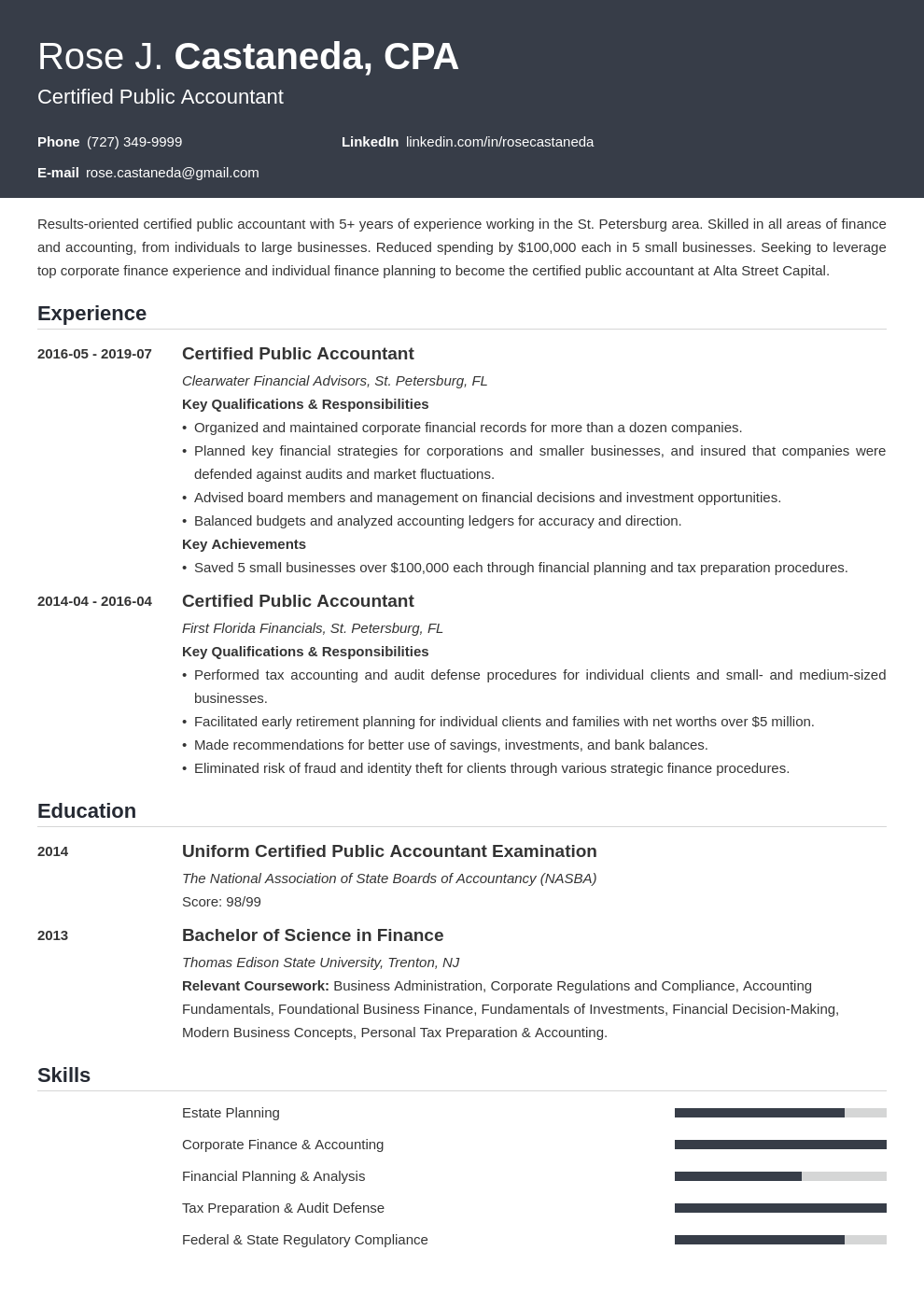 cpa resume example template influx
