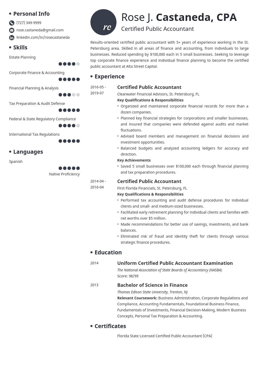 cpa resume example template initials