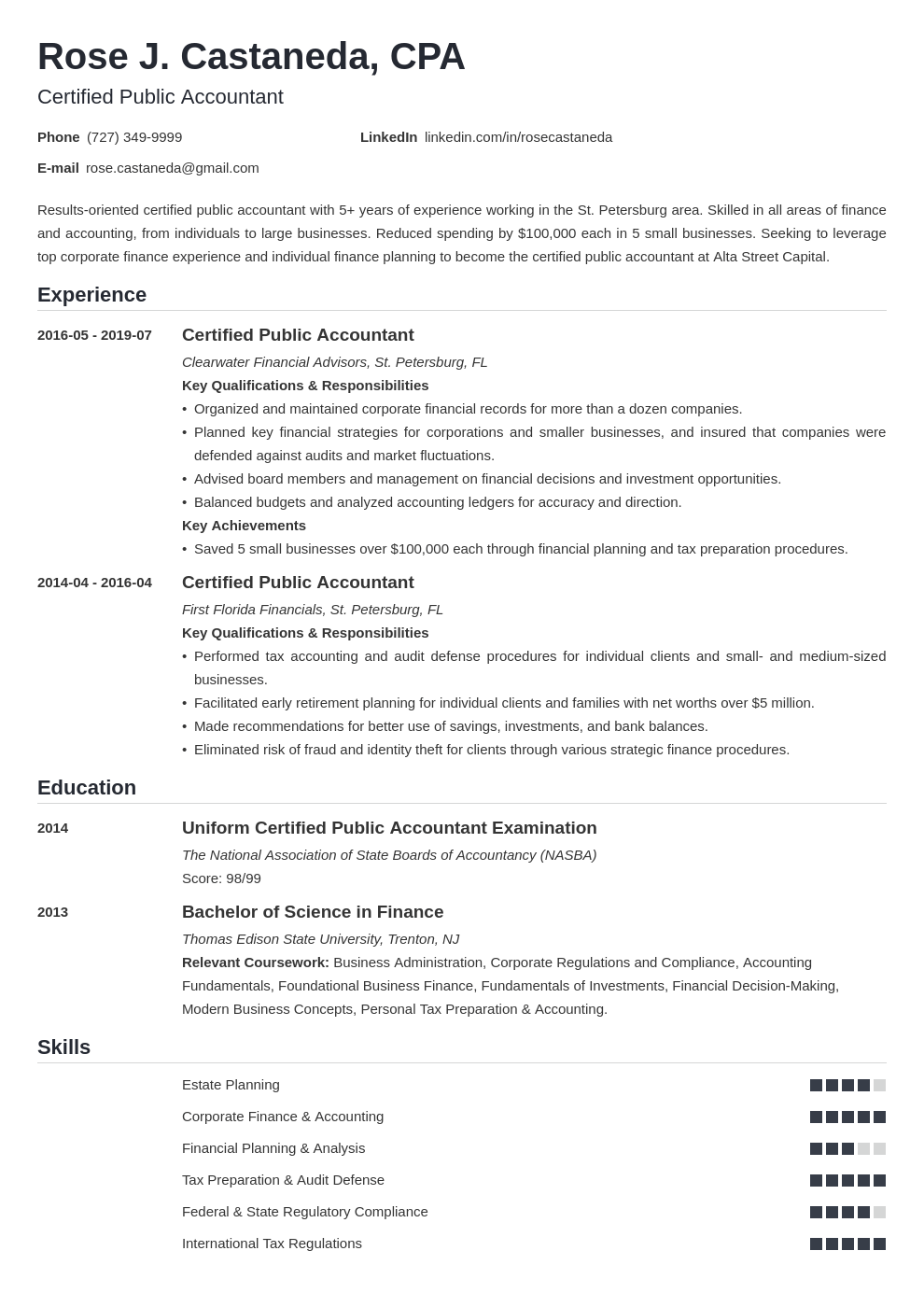 cpa resume example template nanica