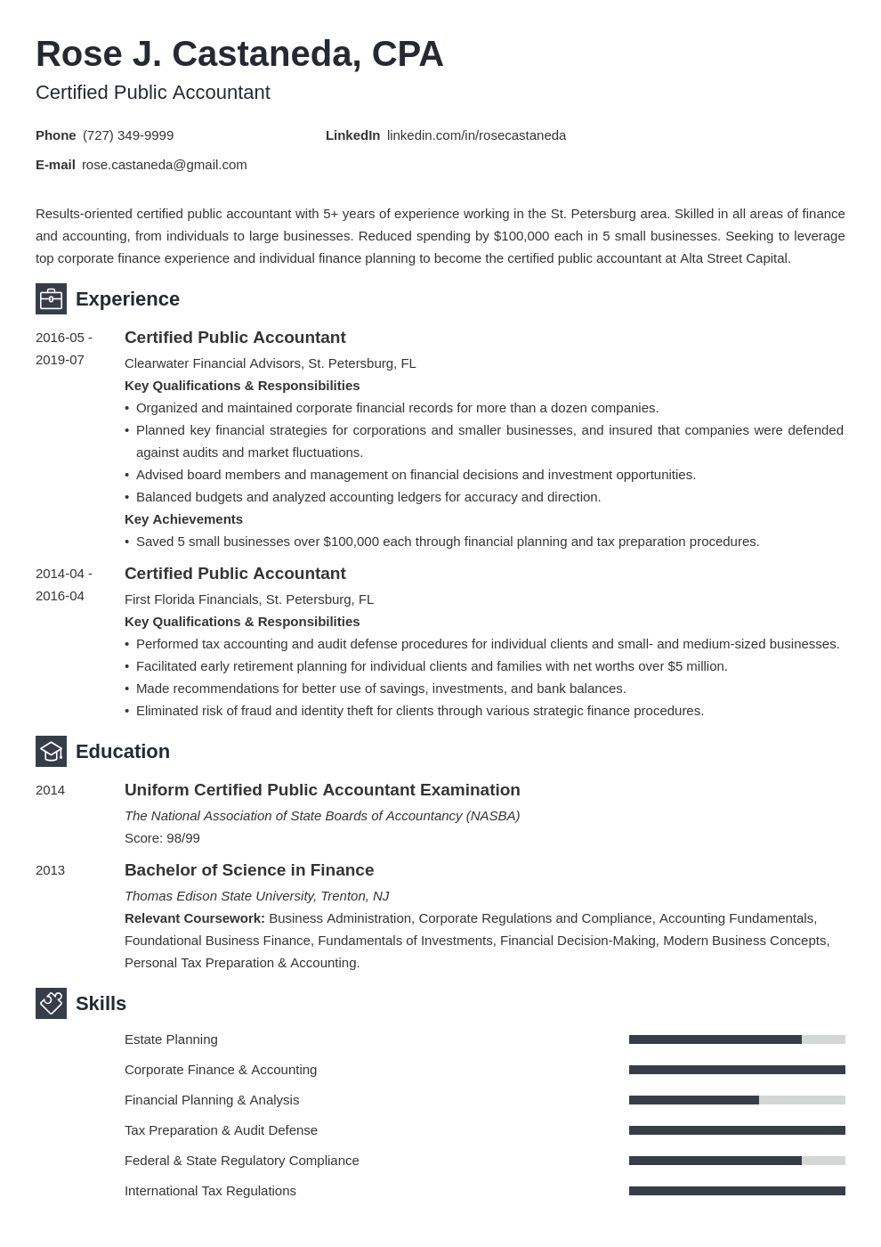 cpa resume example template newcast