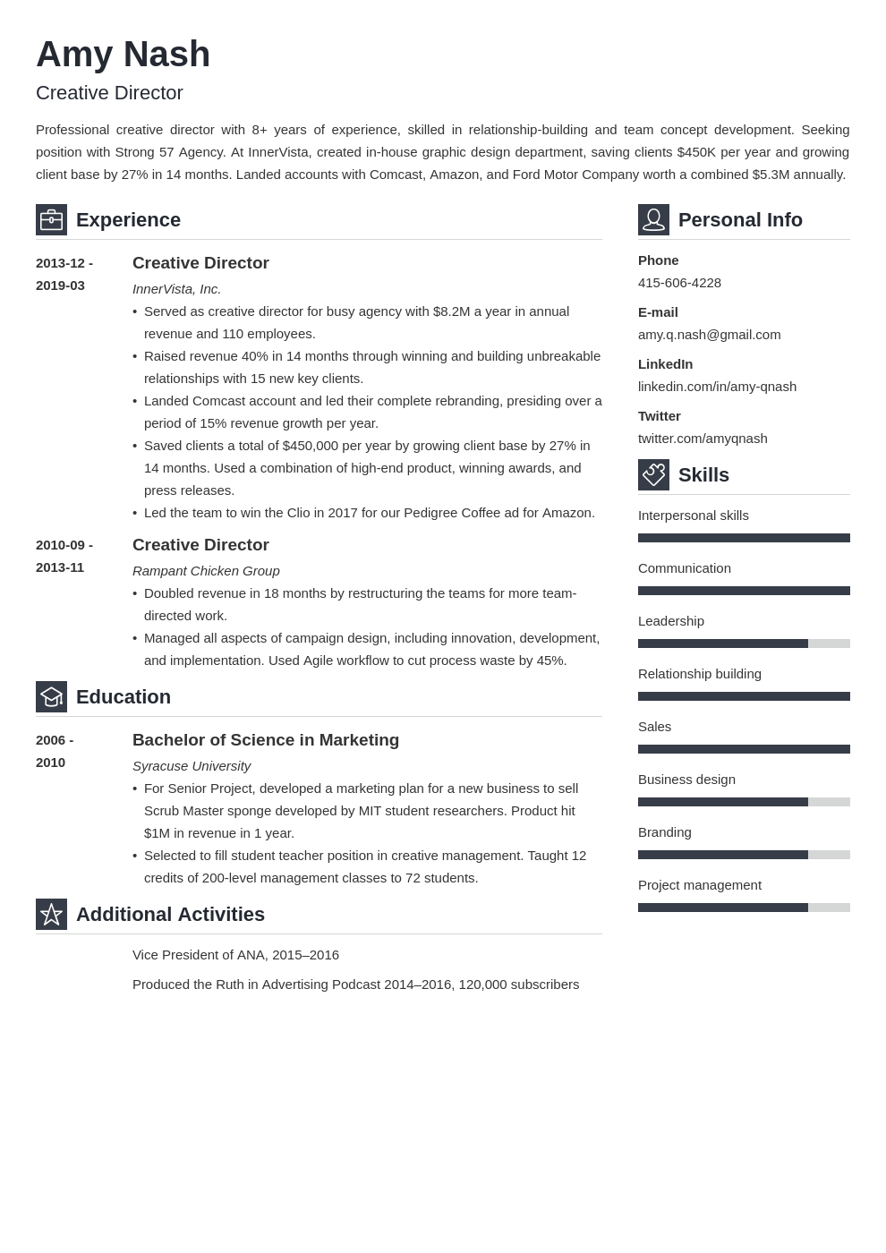 creative director resume example template vibes