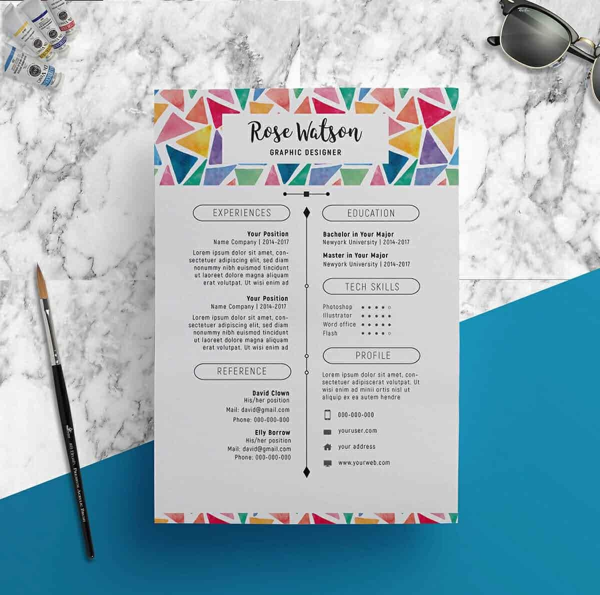 artistic resume with creative header