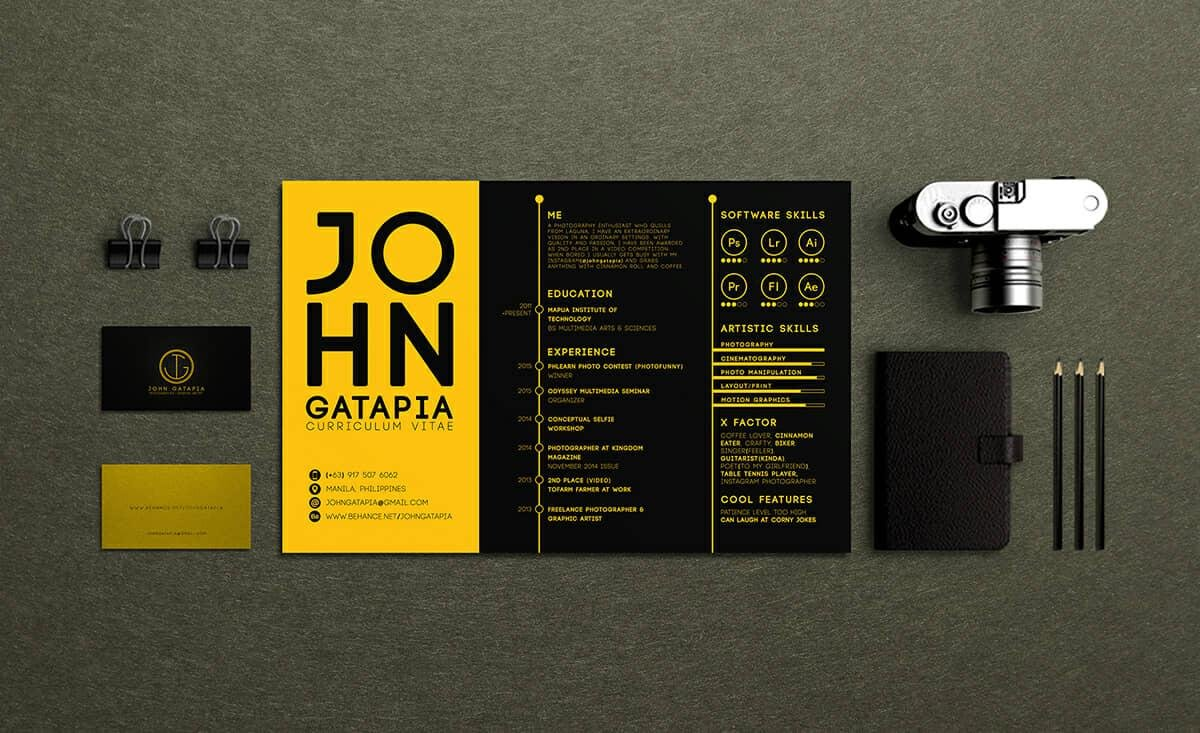 horizontal creative resume format