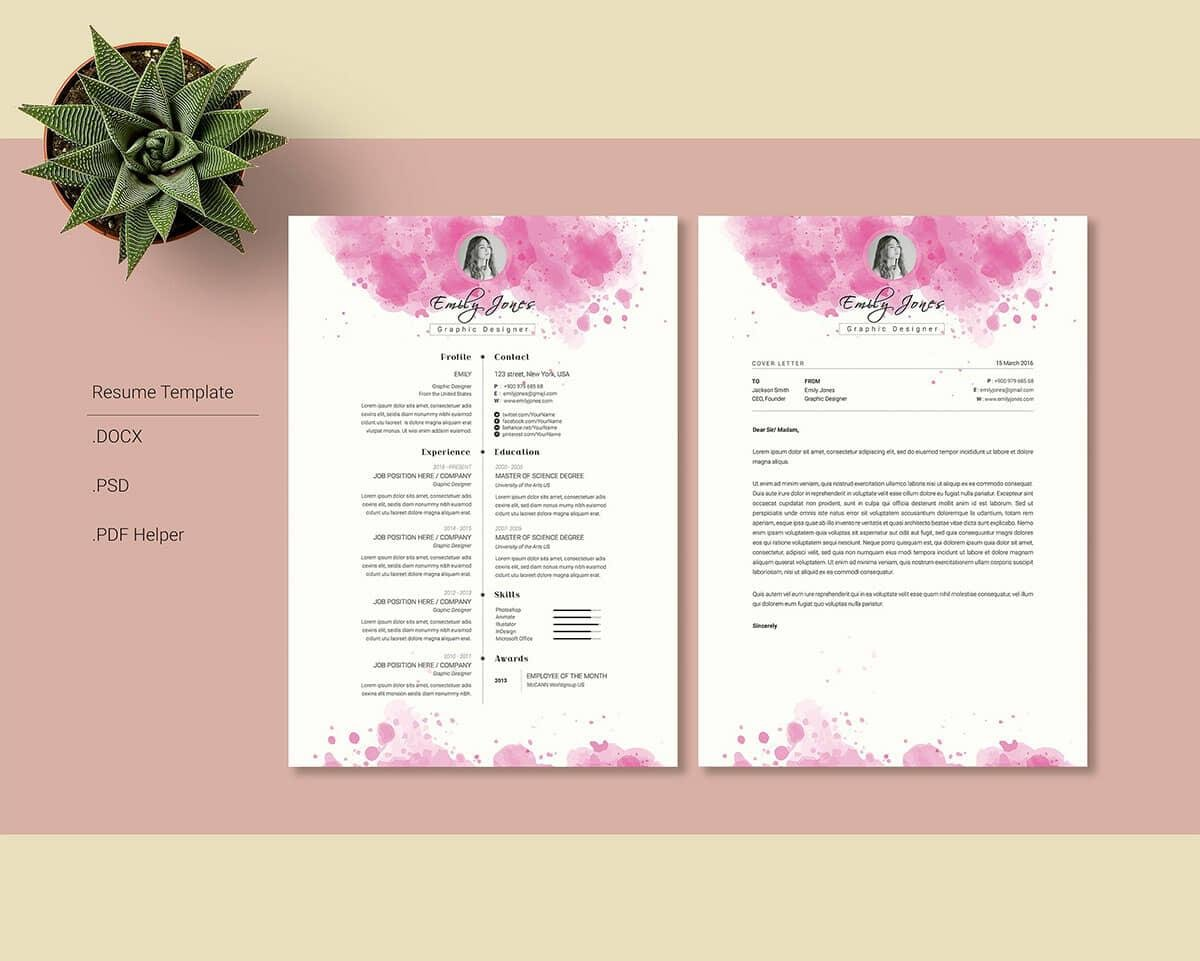 creative resume layouts with pink splotches